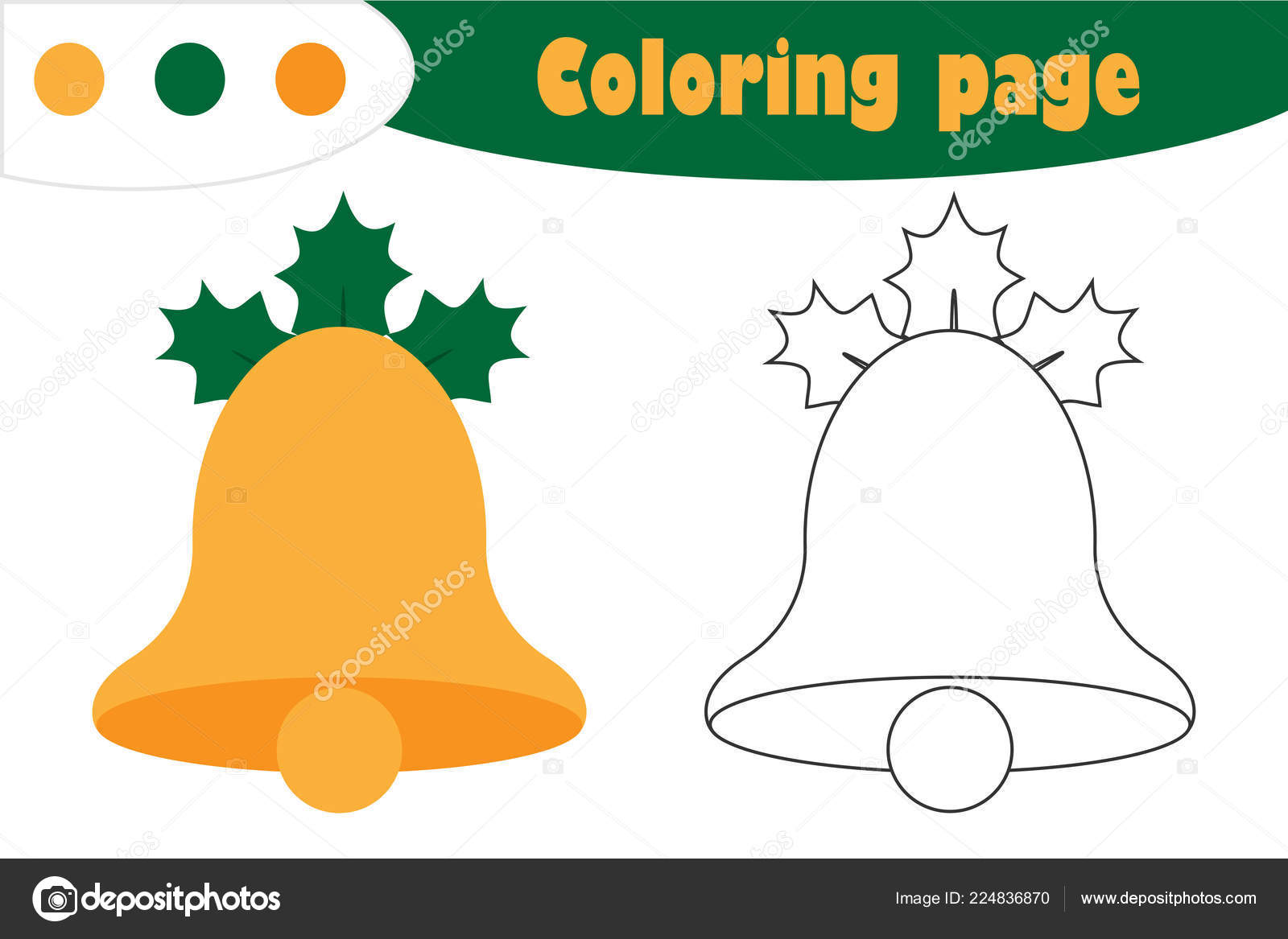 Bell Cartoon Style Christmas Coloring Page Education Paper