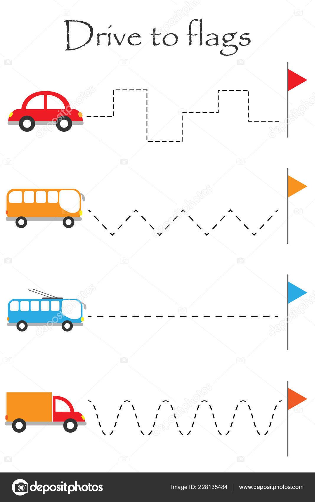 Transport Voiture Feuille Pratique Ecriture Enfants Age