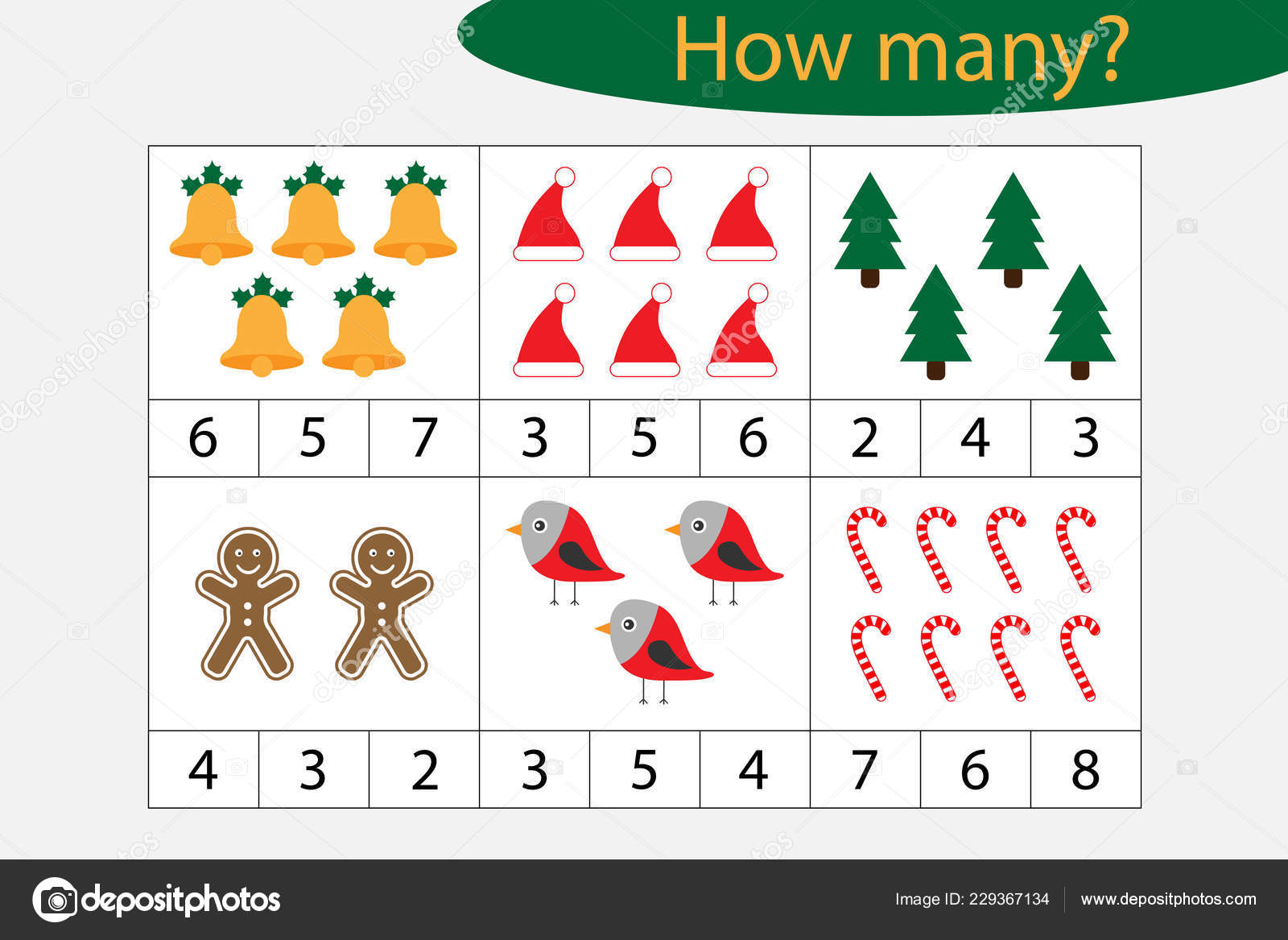 How Many Counting Game Christmas Pictures Kids Educational