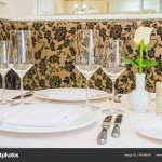 Beautiful French Restaurant Interior With Crystal Chandeliers And Table Seating With China Porcelain Tableware Stock Photo C Photographjoe 274598064