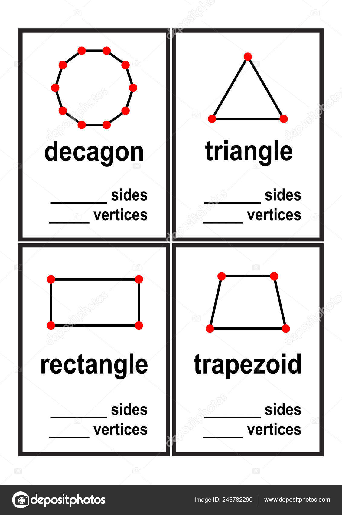 Count Sides Vertices Shapes Worksheet Preschool Kids