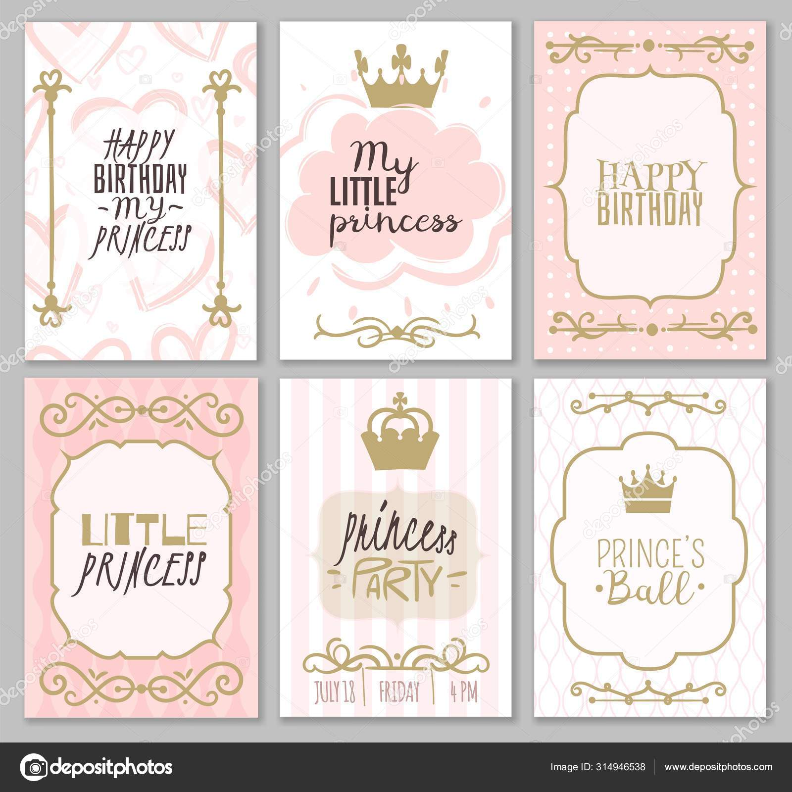 princess borders cute girl party invitation shower or sweet frames for elegant decor of card vector templates vector image by c yummybuum vector stock 314946538