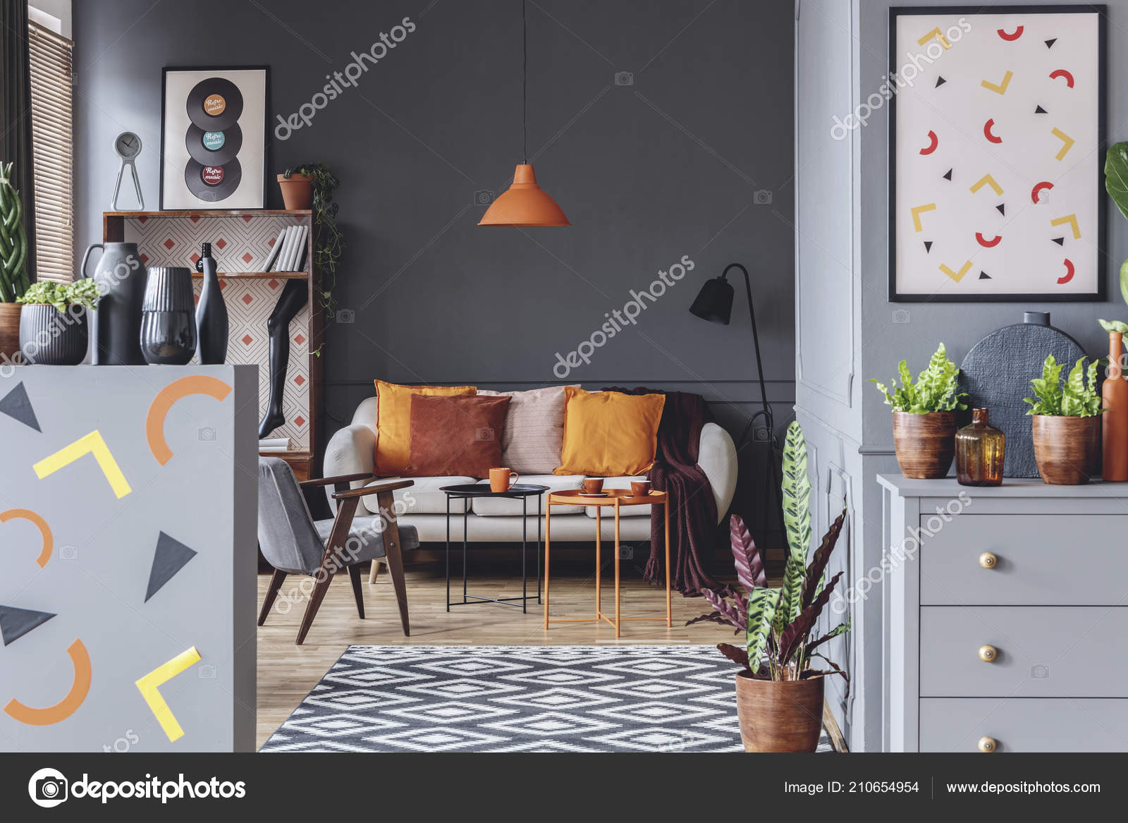 Geometric Shapes Poster Spacious Grey Orange Living Room Interior Sofa Stock Photo C Photographee Eu 210654954