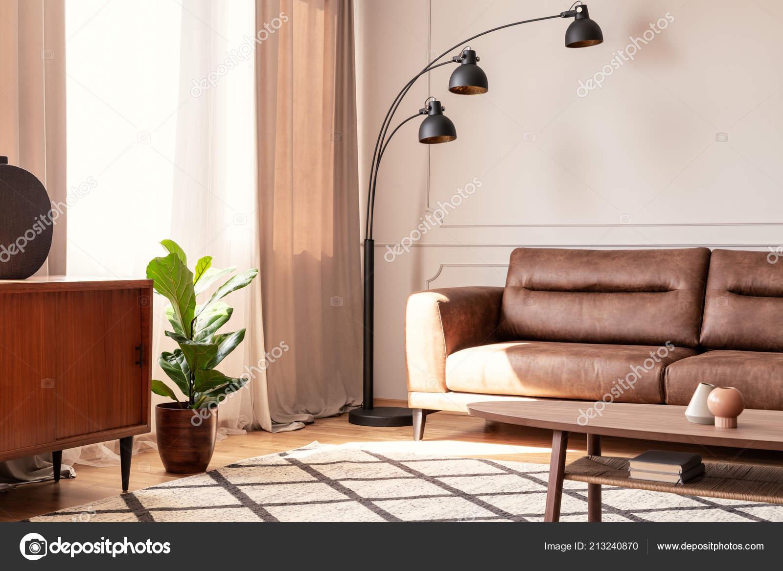Black Lamp Next Leather Sofa Retro Living Room Interior