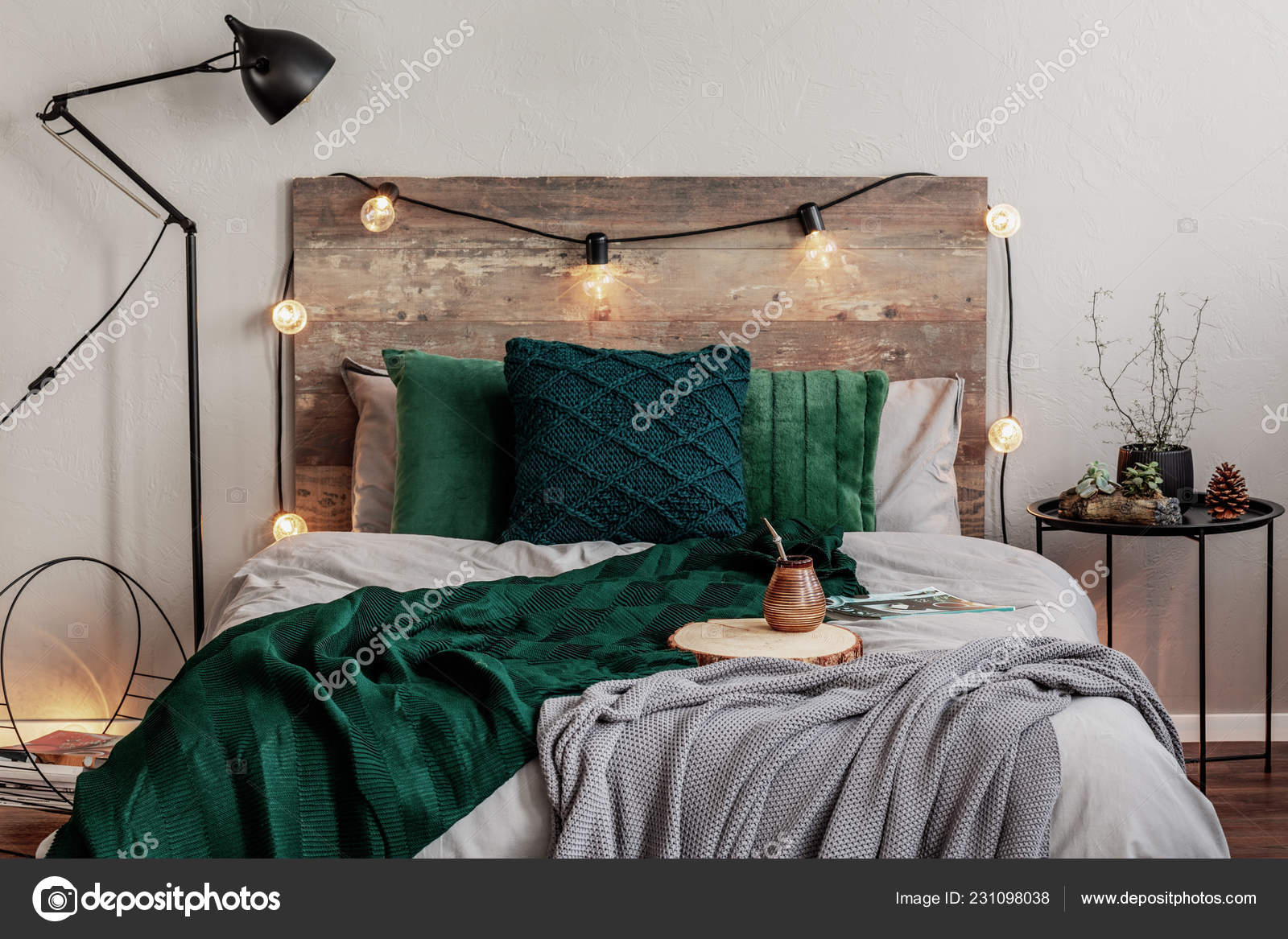 Emerald Green Grey Bedding Double Bed Wooden Headboard