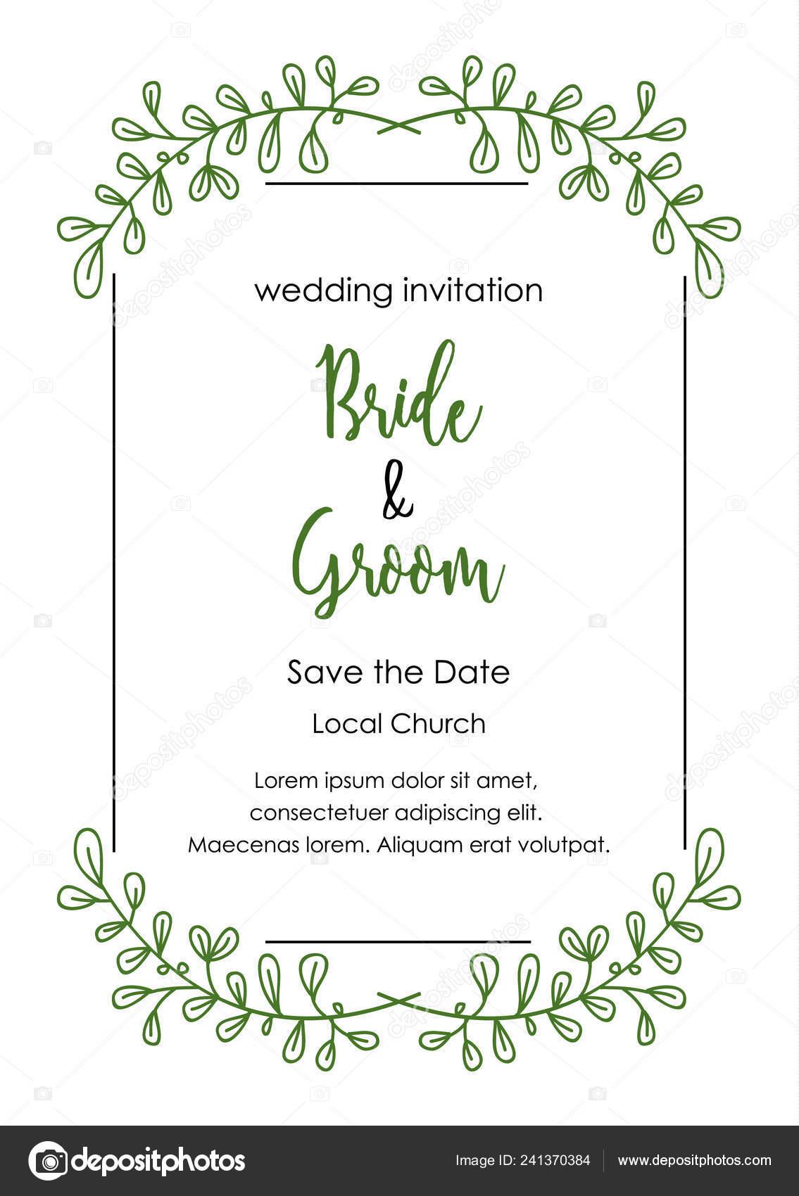 wedding invitation card wedding card template decorative floral frame hand vector image by c kiki vagnerova gmail com vector stock 241370384