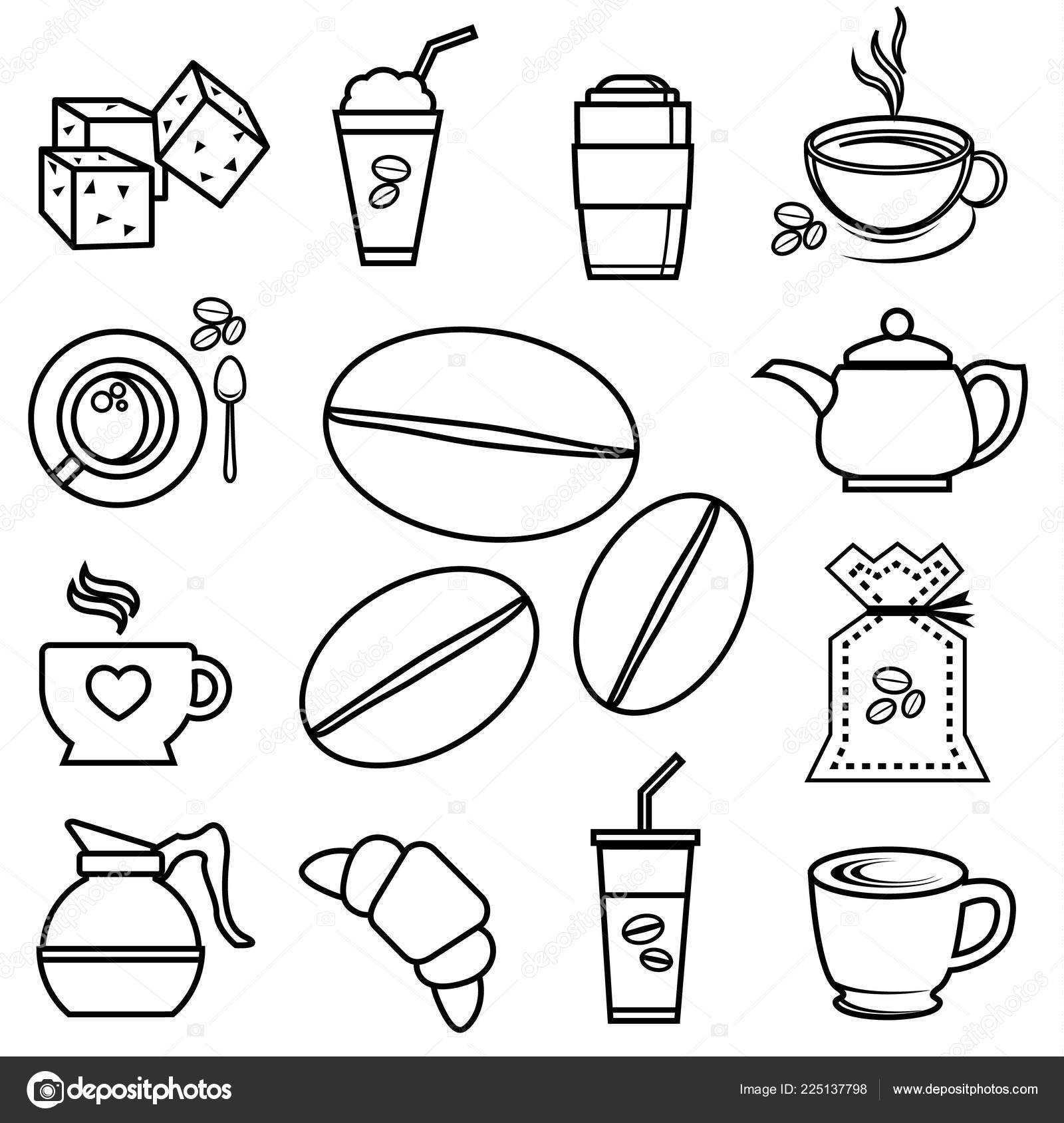 Coffee Icon Set Outline Accessories Ingre Nt Bean Jar