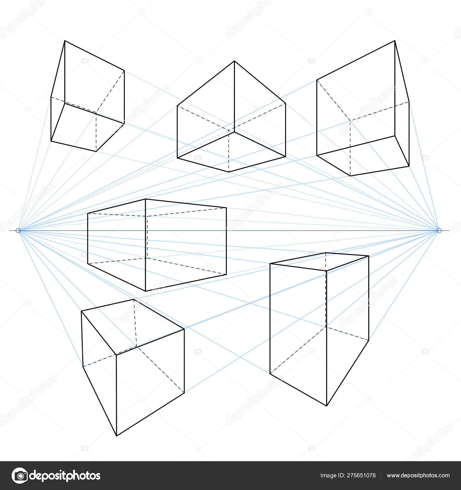 Two Point Perspective Line Drawings Vector Set Of Cubes