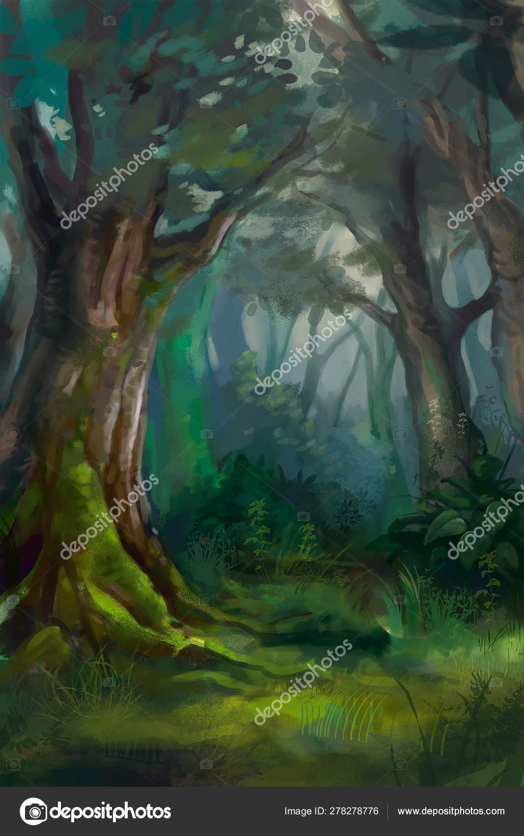 Dense forest painting for sale by artist pamela rebecca vincent at lowest price in india. Illustration Of Dense Forest Stock Photo By C Dmitry1991 278278776