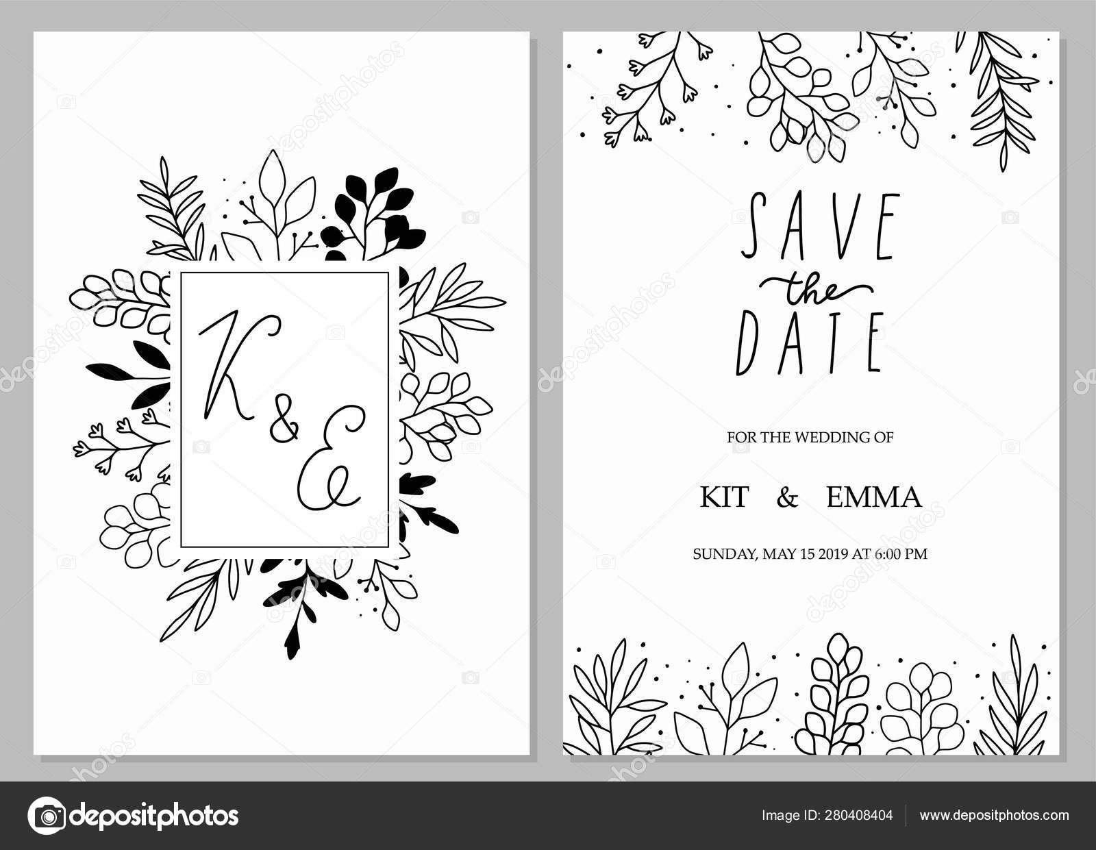 wedding invitation template concept floral date card design black white vector image by c cute vector vector stock 280408404