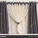 Pictures Double Curtain Rod Design Small Window Modern Style Combined Curtain Eyelets Black Fabric Stock Photo C Fotiy 219665982