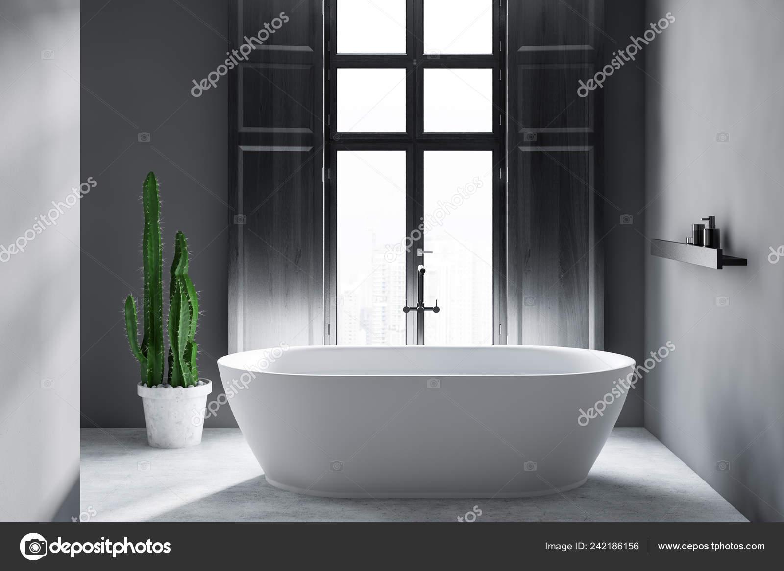 Interior Minimalistic Bathroom Gray Walls Concrete Floor