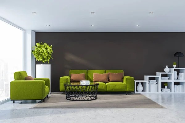 Interior Of Modern Living Room With Brown Walls Stone Floor Green Armchair And Sofa Standing Near Round Coffee Table And White Bookshelves 3d Rendering Stock Images Page Everypixel