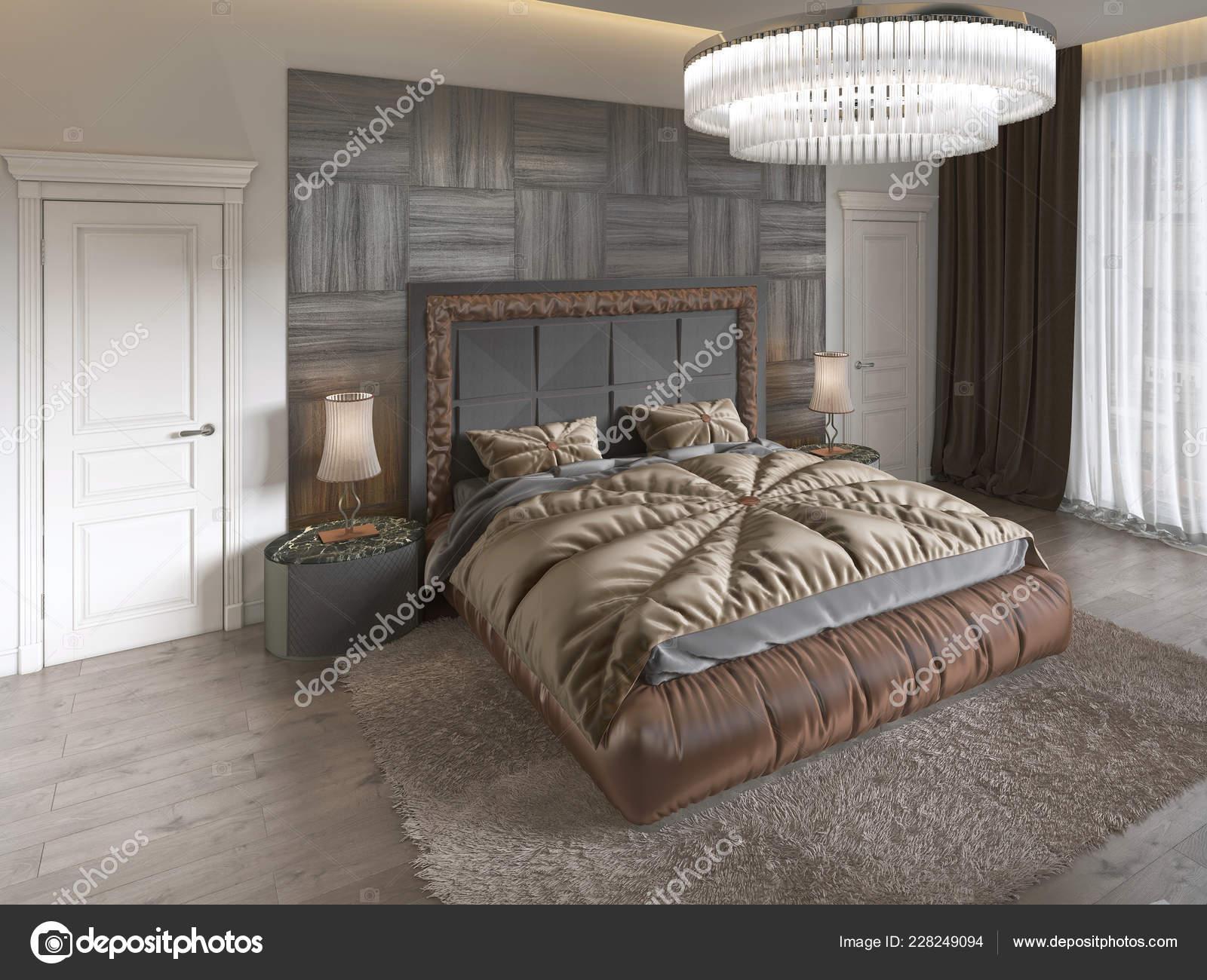 Modern Luxury Bed Art Deco Style Quilt Wooden Headboard