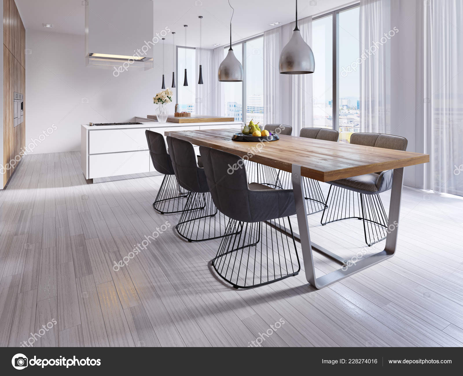 Contemporary Dining Room Large Table Loft Style Chairs