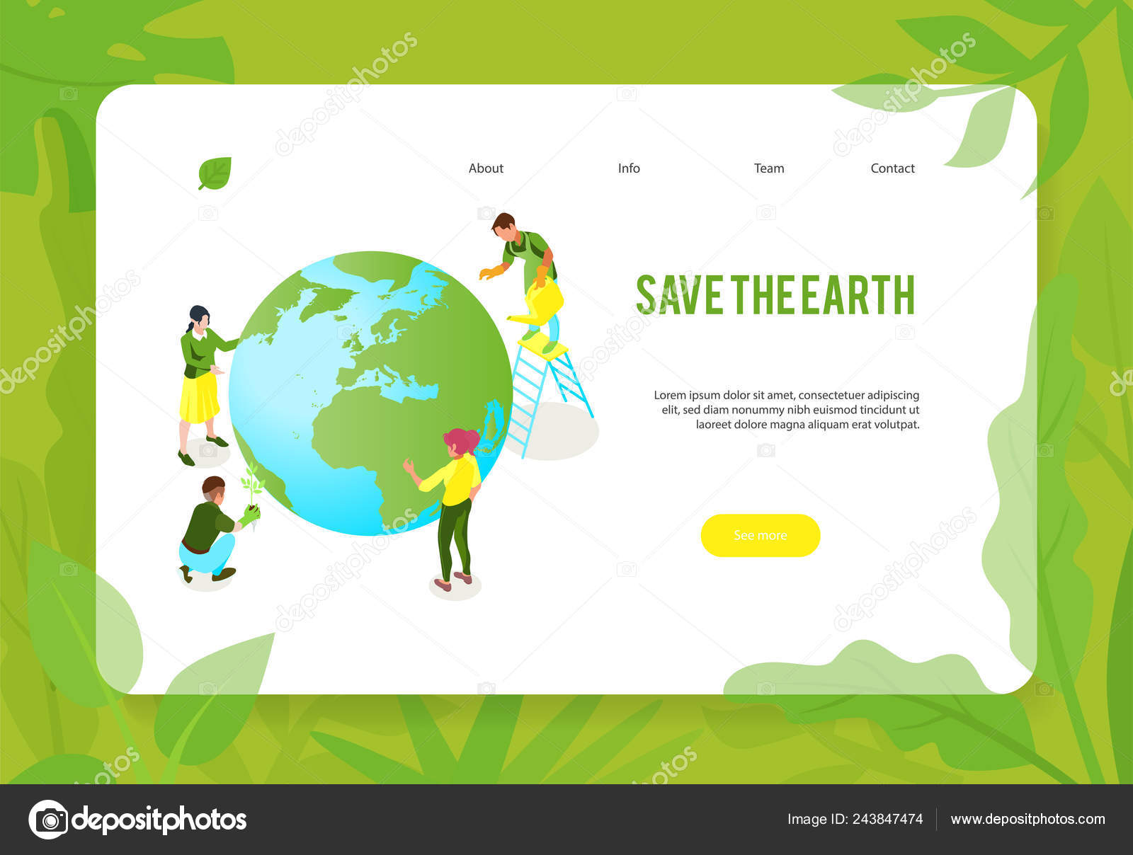 Save Earth Website Banner Stock Vector C Macrovector 243847474