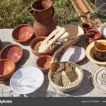 Table Kitchenware Mugs Cups Spoons Bowls Clay Plates Horn Writing Stock Photo C Softsigns 219156566