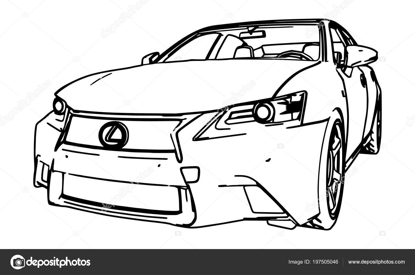 Vector Drawing Lexus Made Black Contour Lines White