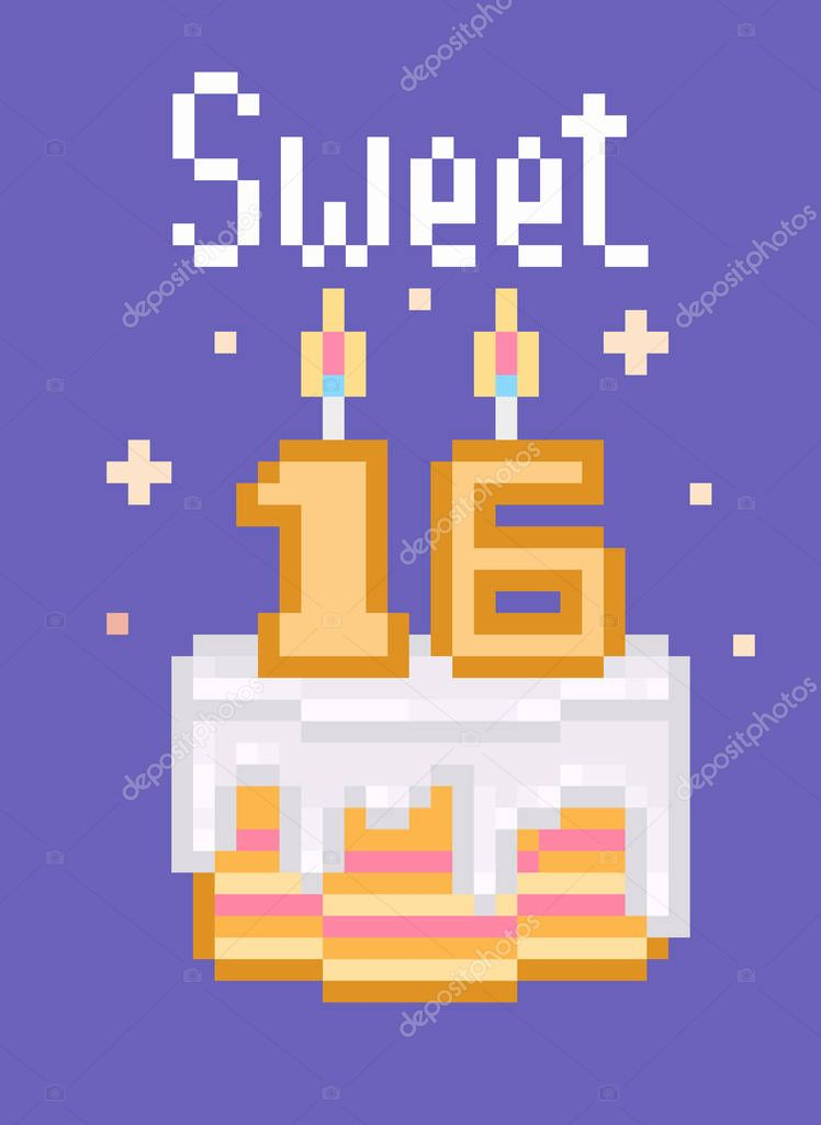 retro 80s 90s pixel art happy birthday