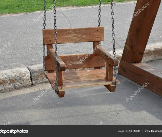 Homemade Swing Rough Boards Iron Chains Stock Photo
