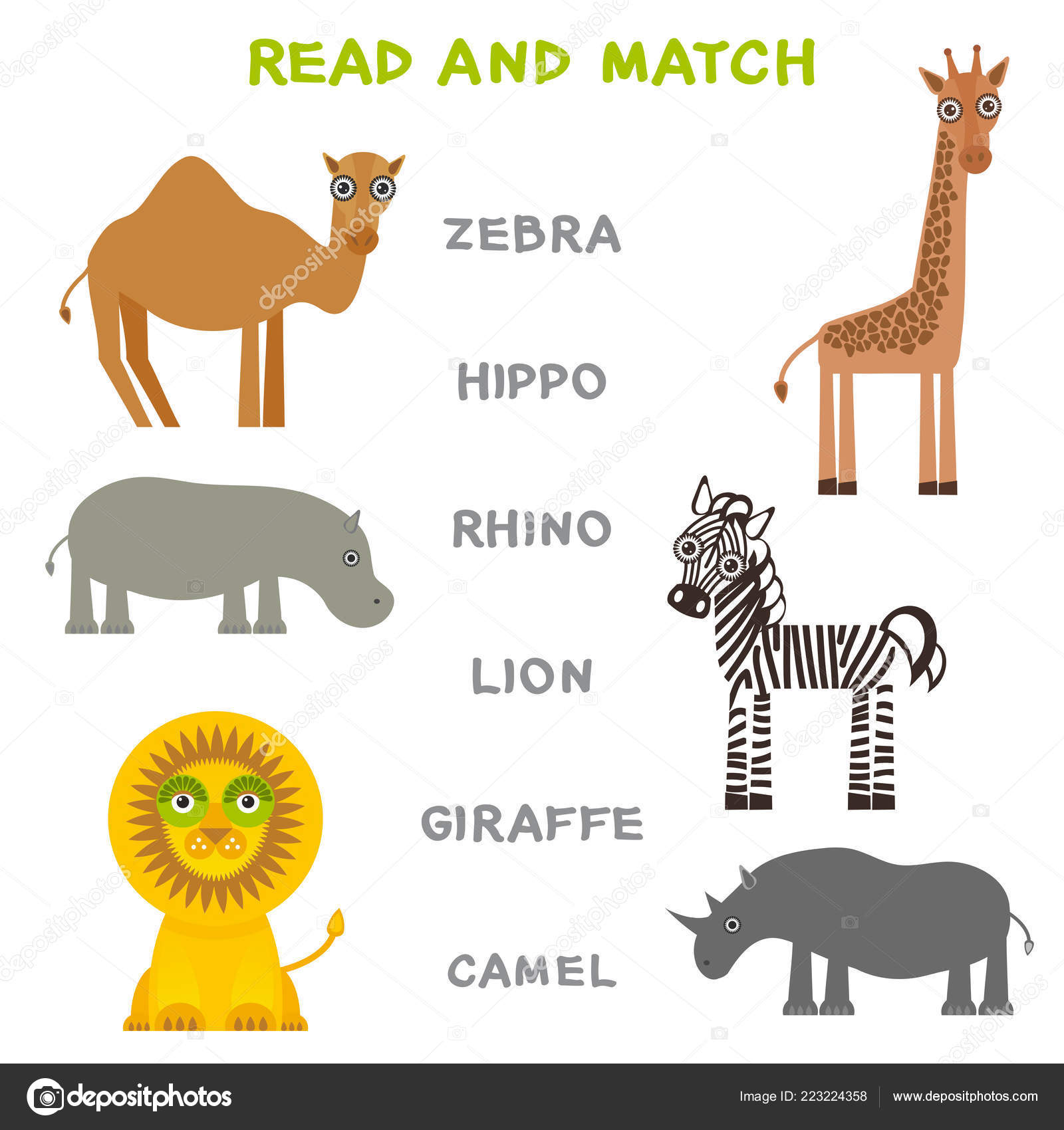 Kids Words Learning Game Worksheet Read Match Funny Animals Zebra