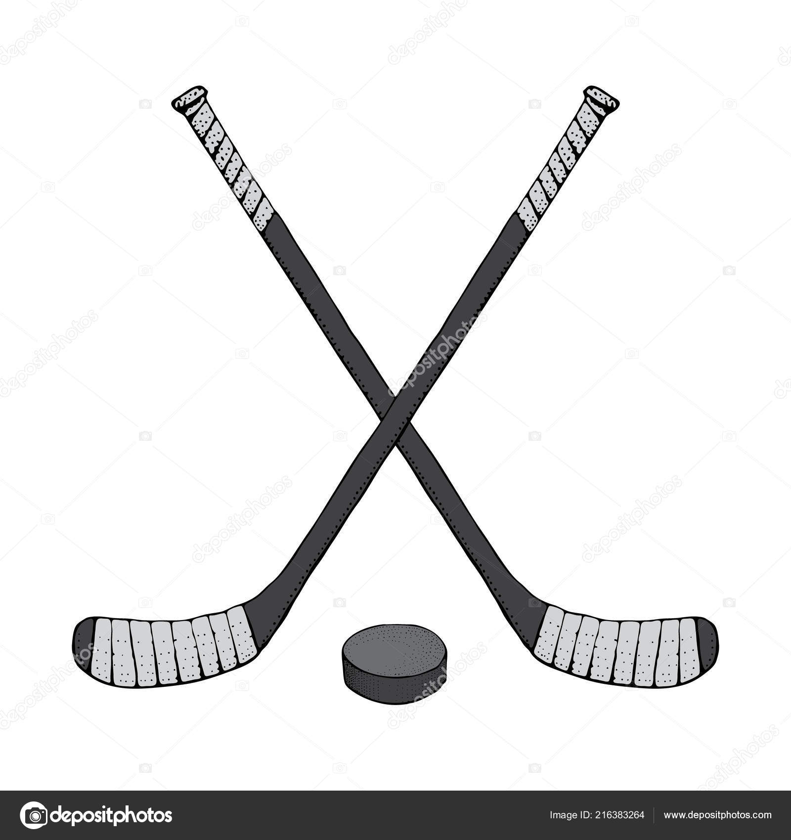 Ice Hockey Stick With Puck Sports Vector Illustration