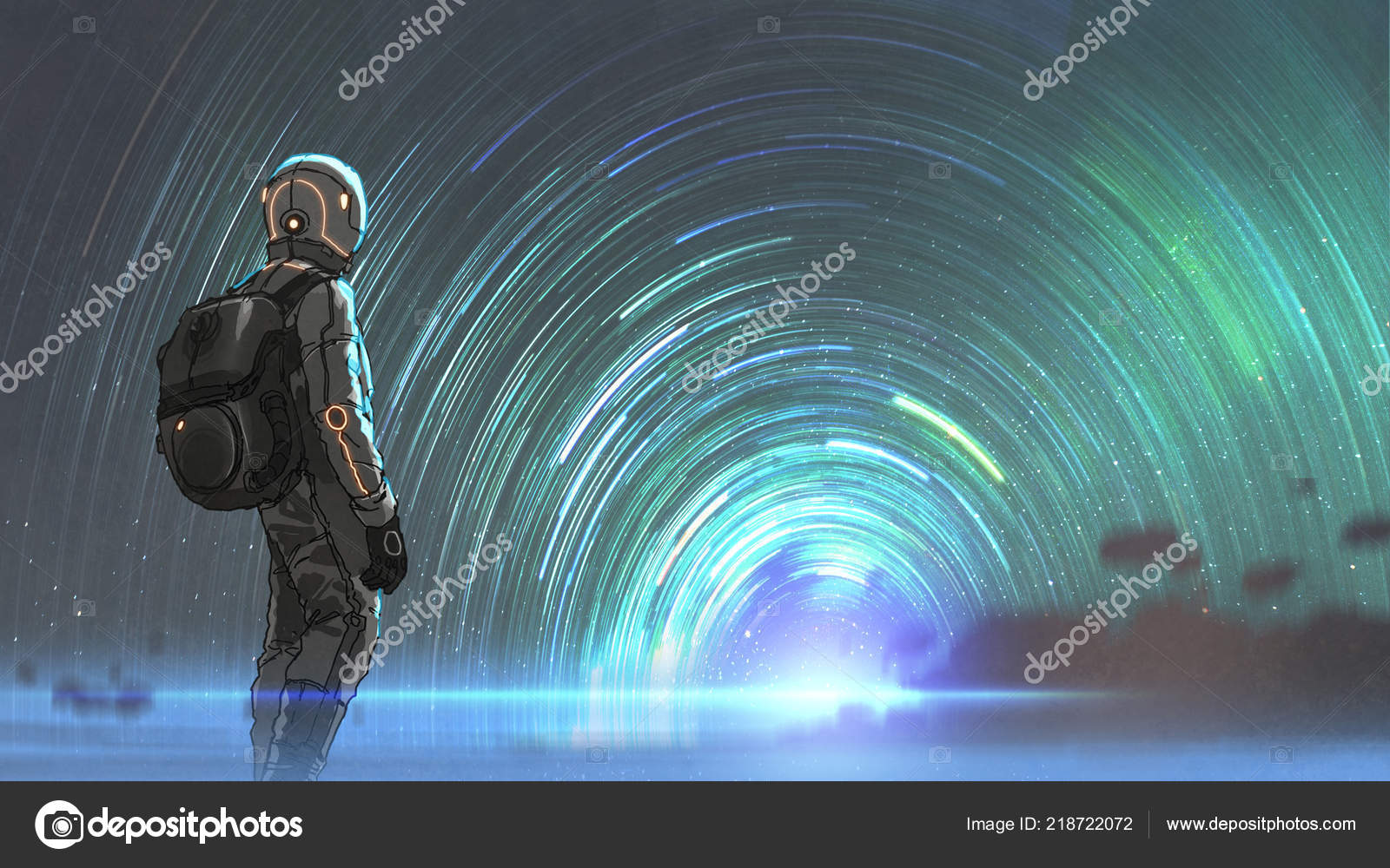 Science Fiction Scene Astronaut Standing Front Starry