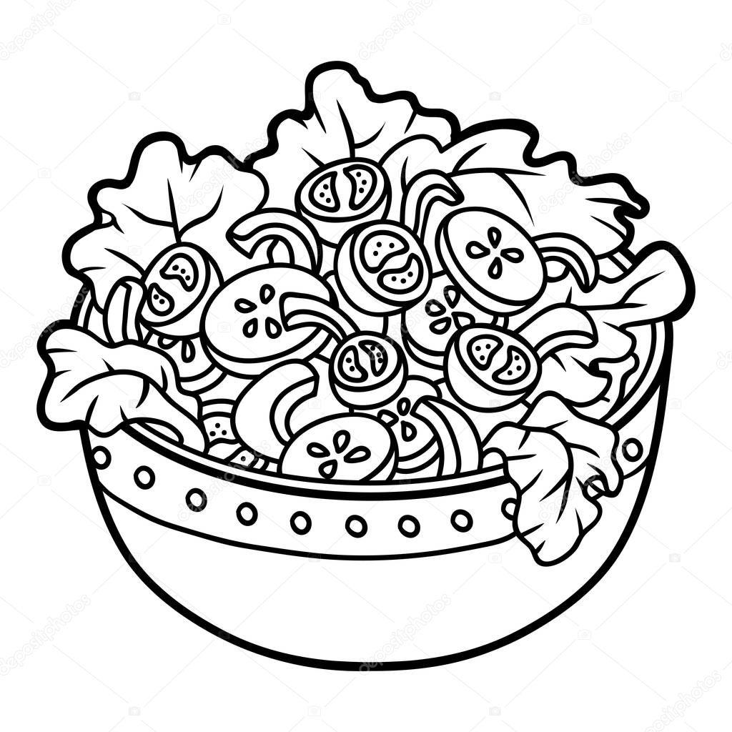 Coloring Book Children Vegetables Salad Bowl