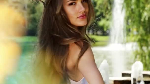 Sexy Woman Long Hair Makeup Wear Shine Dress Glamour Fashion Stock Video