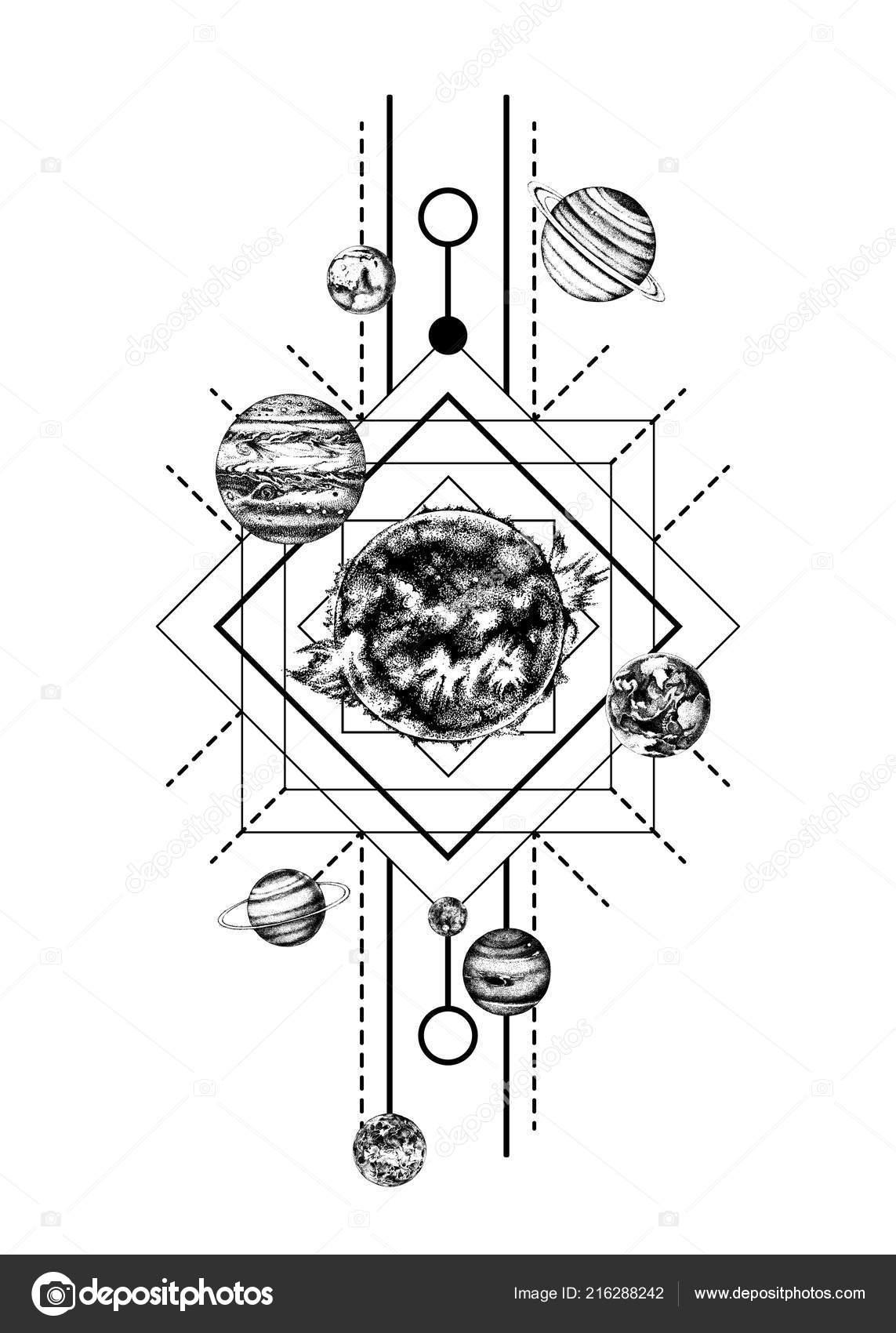 Geometric Planet Tattoo