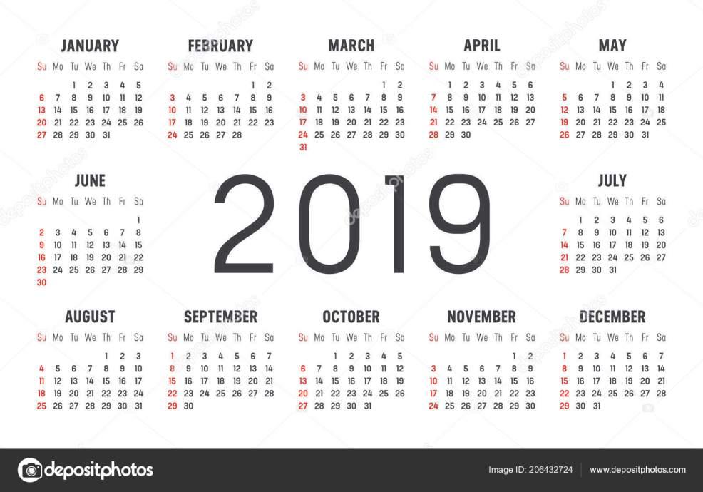 2019 году минималистский черный красный календарь белом фоне