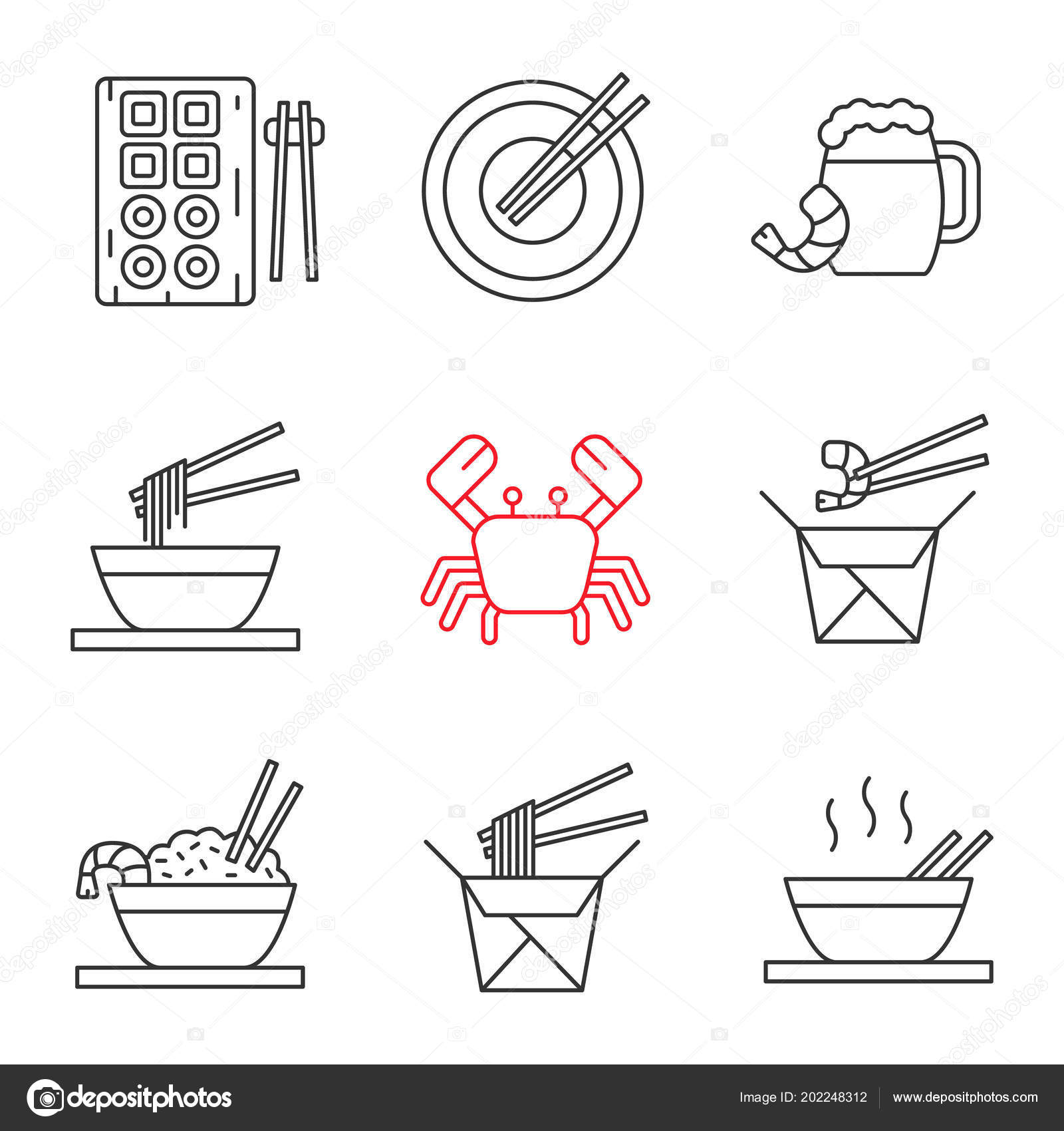 Chinese Food Linear Icons Set Sushi Noodles Ramen Fried