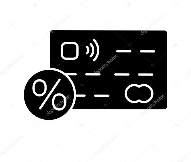 Credit Card Interest Rate Glyph Icon Credit Card Percent Silhouette Stock Vector