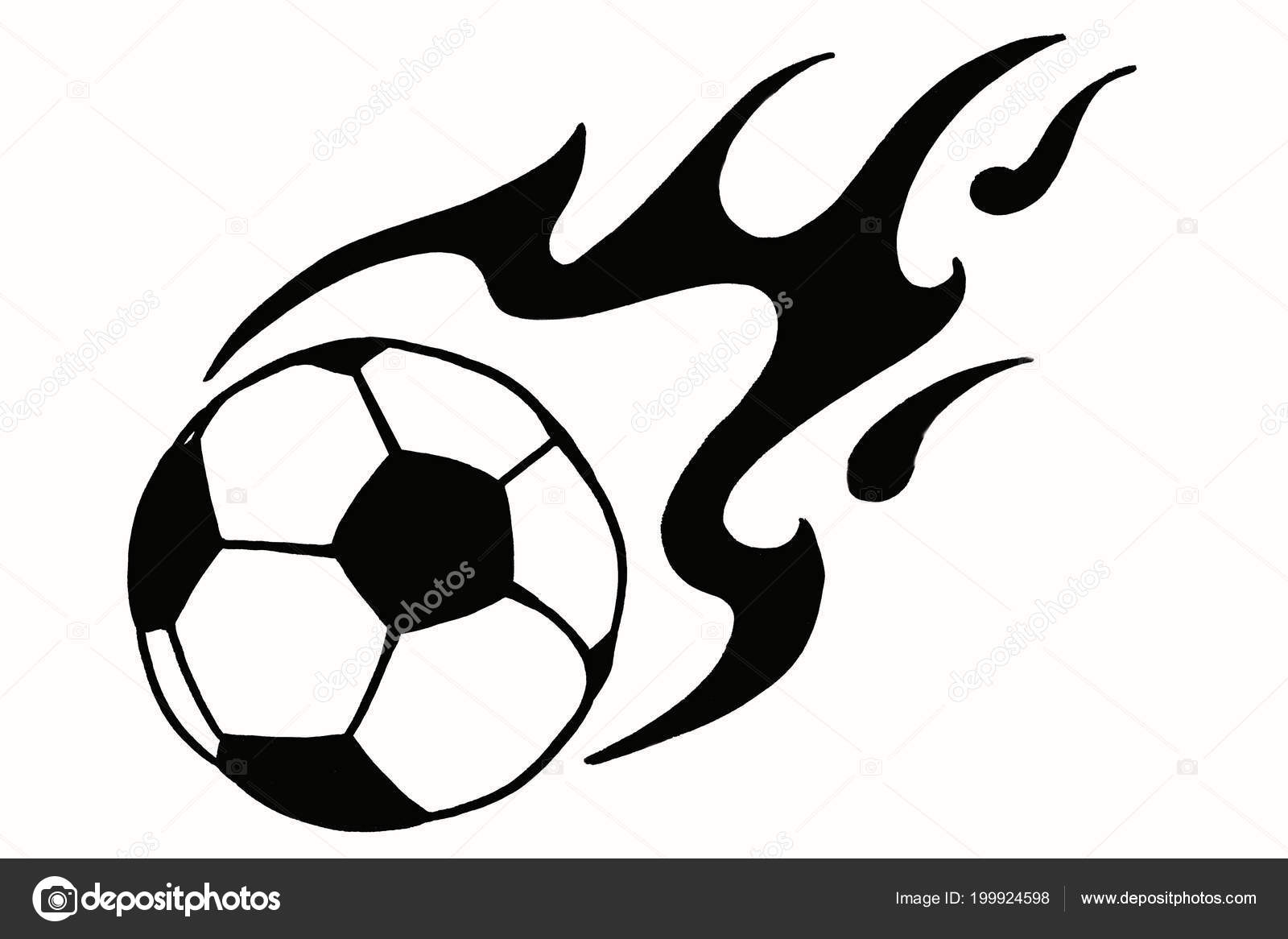 Soccer Ball Fire Hand Drawn Simple Illustration Black Ball