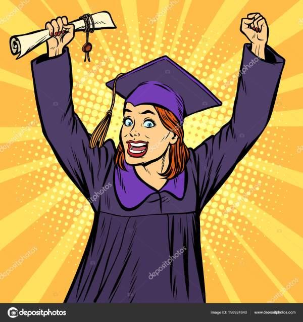 Радостный женщина выпускник победный жест руки вверх ...