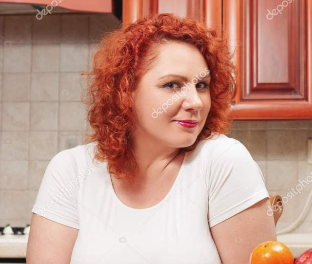 Big Woman Eat Fast Food Red Hair Fat Girl Burger Stock Photo