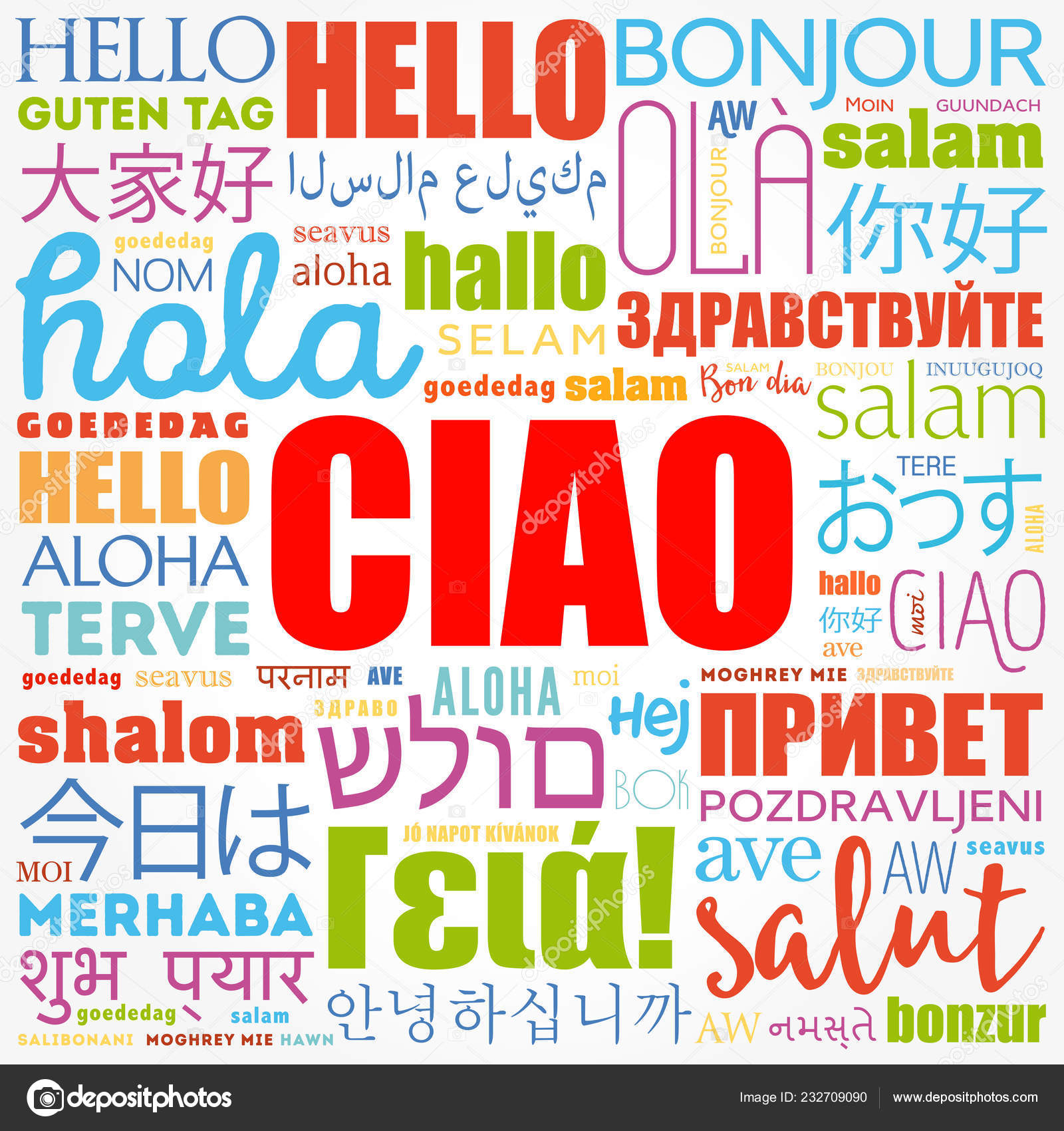 Ciao Hello Greeting Italian Word Cloud Different Languages