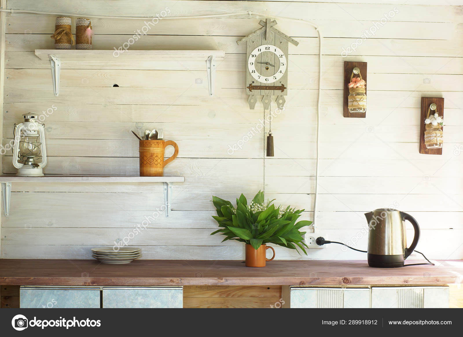 Small Rustic Kitchen With A Clock On The Wall White Plank