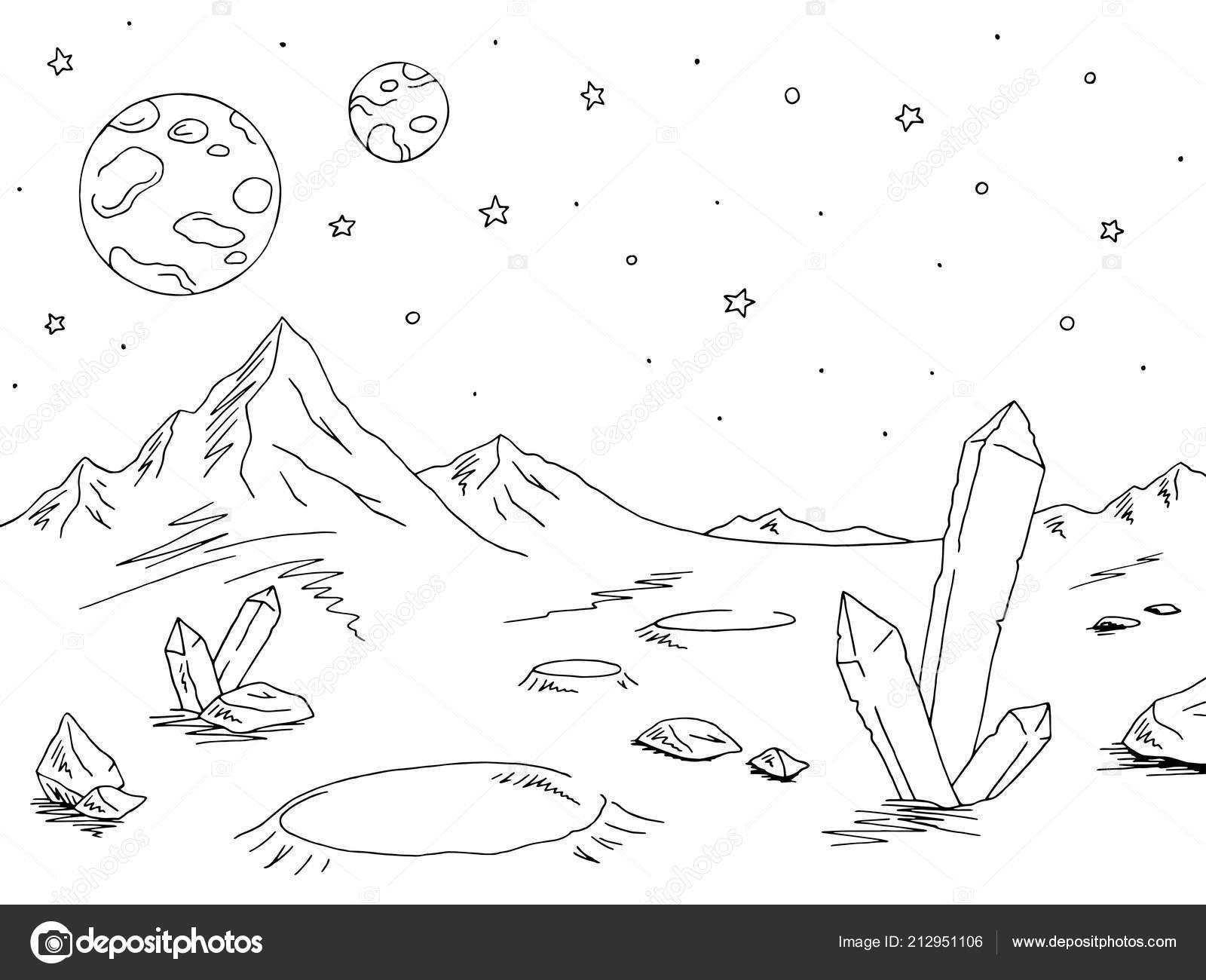 Alien Planet Graphic Black White Space Landscape Sketch