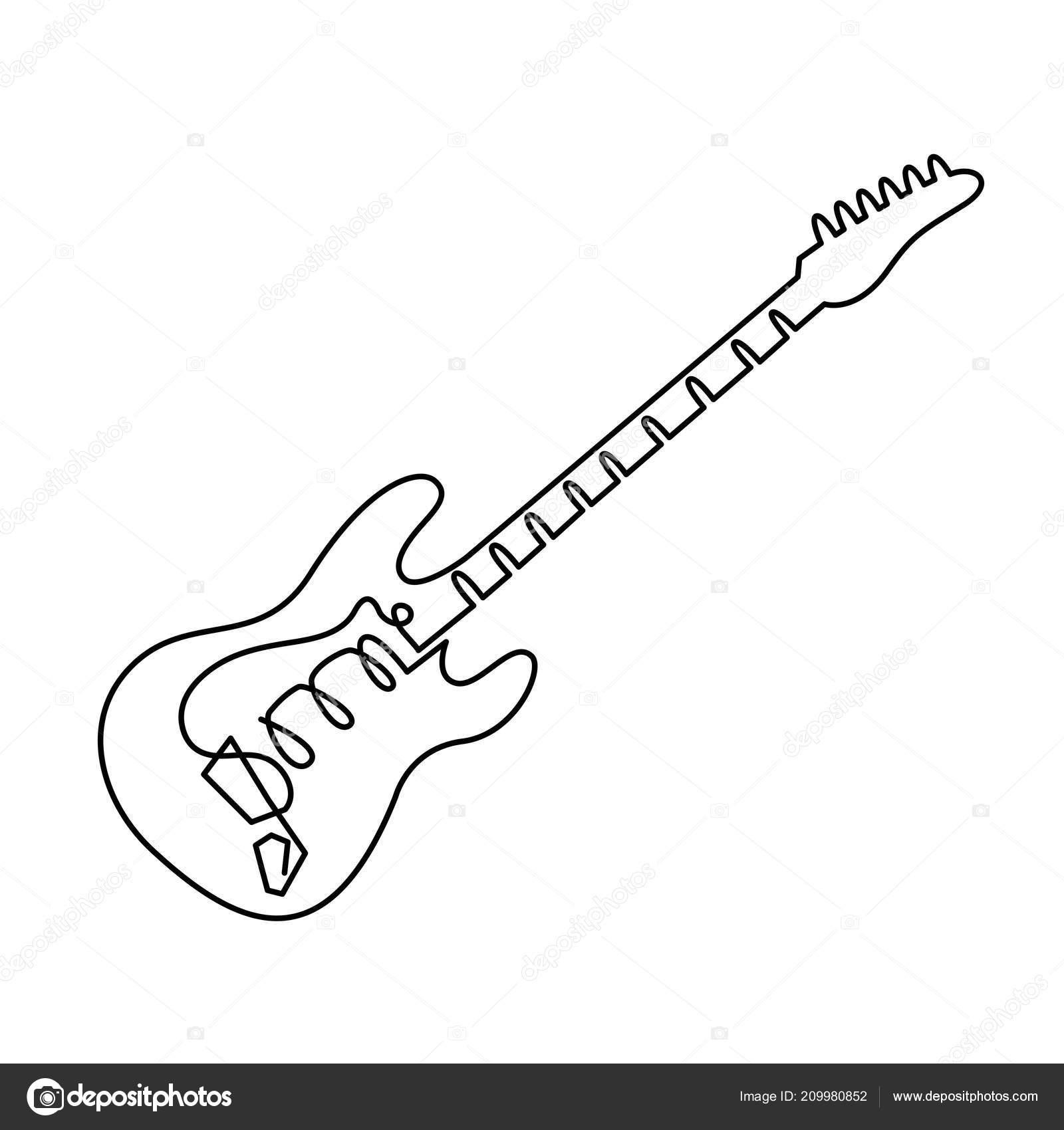 Linea Continua Dibujo De Icono De La Guitarra Electrica
