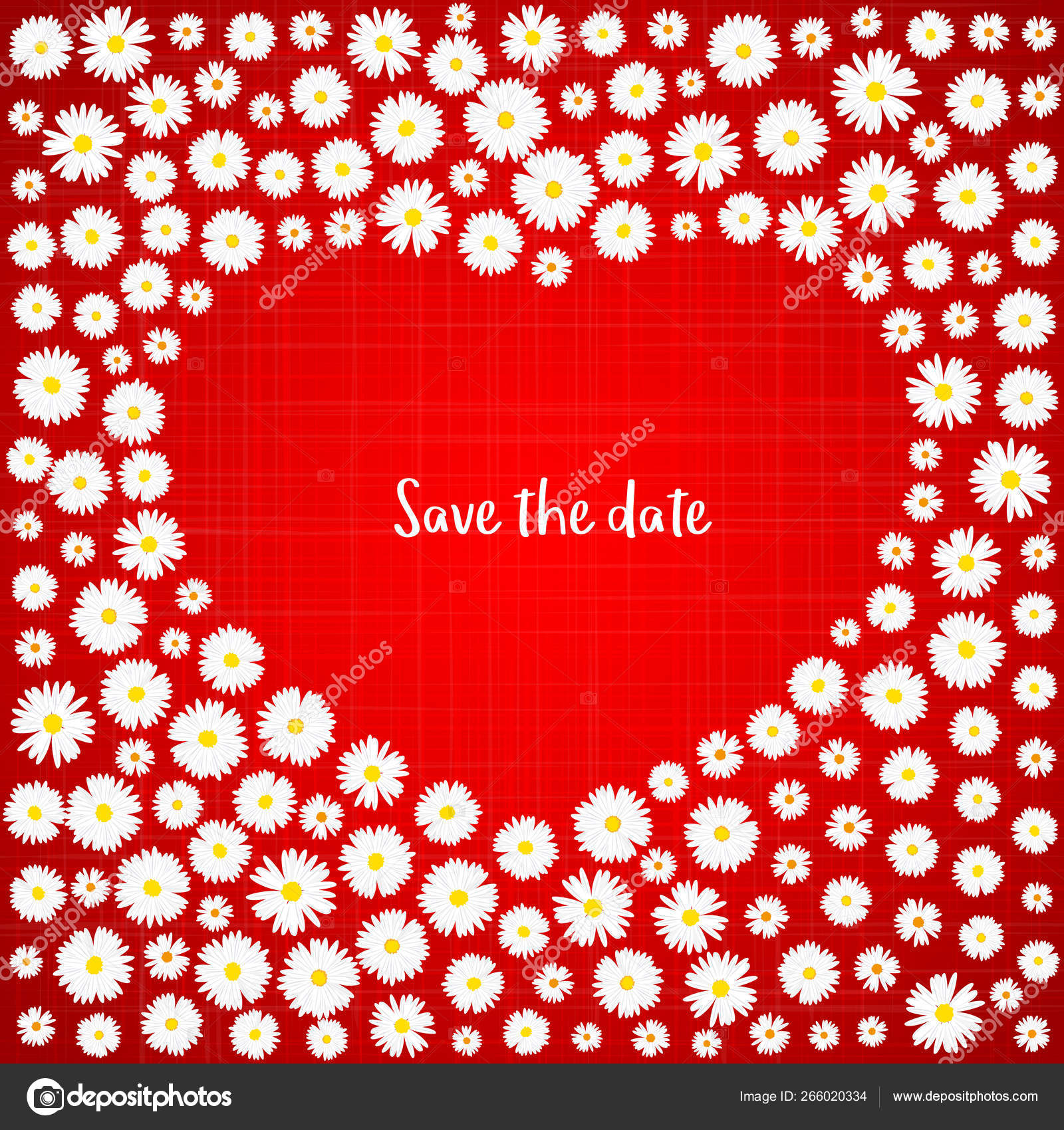save the date romantic card white daisies on red background wedding invitation card template love concept valentines day festive poster for 14 february vector illustration vector image by c amnell vector stock 266020334