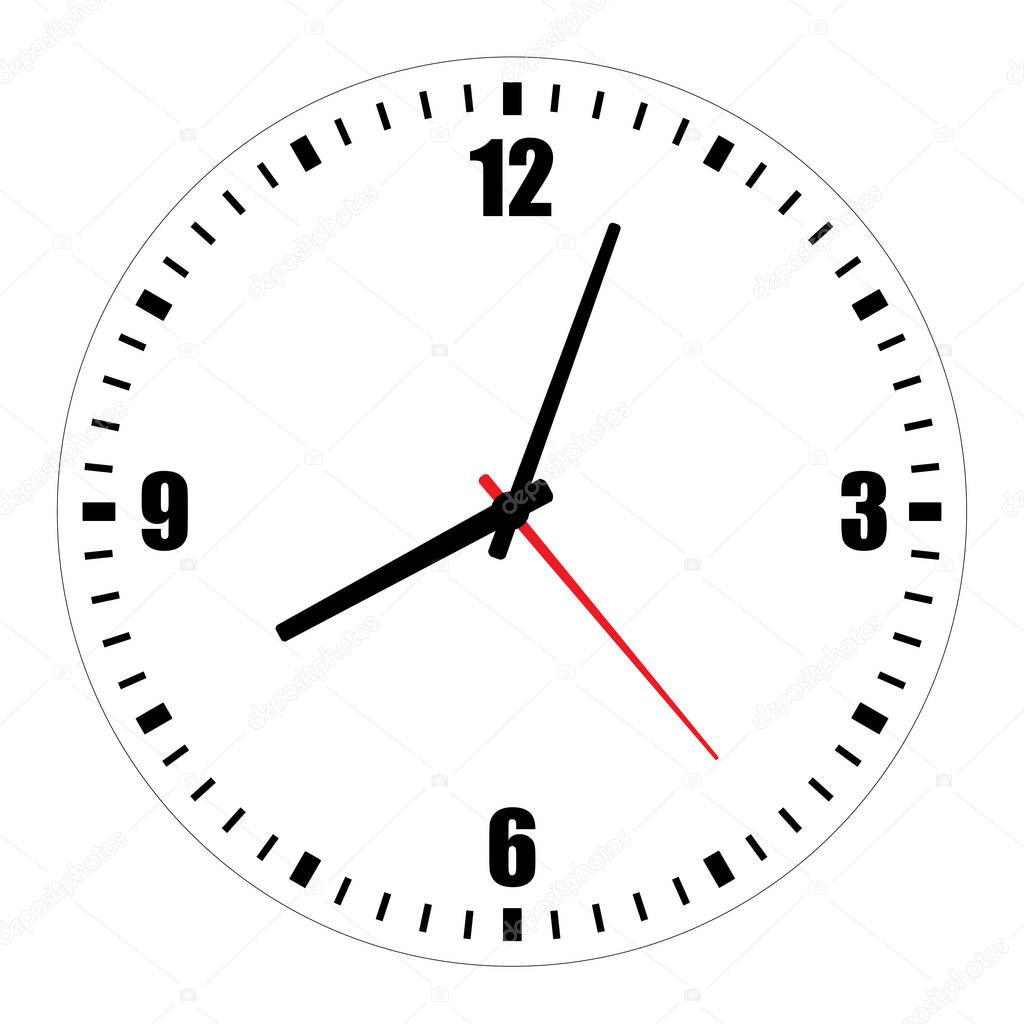 Vector Illustration Of Blank Clock Face Dial With Arabic Numerals Hour Minute And Second Hands Isolated On White Background Premium Vector In Adobe Illustrator Ai Ai Format Encapsulated Postscript