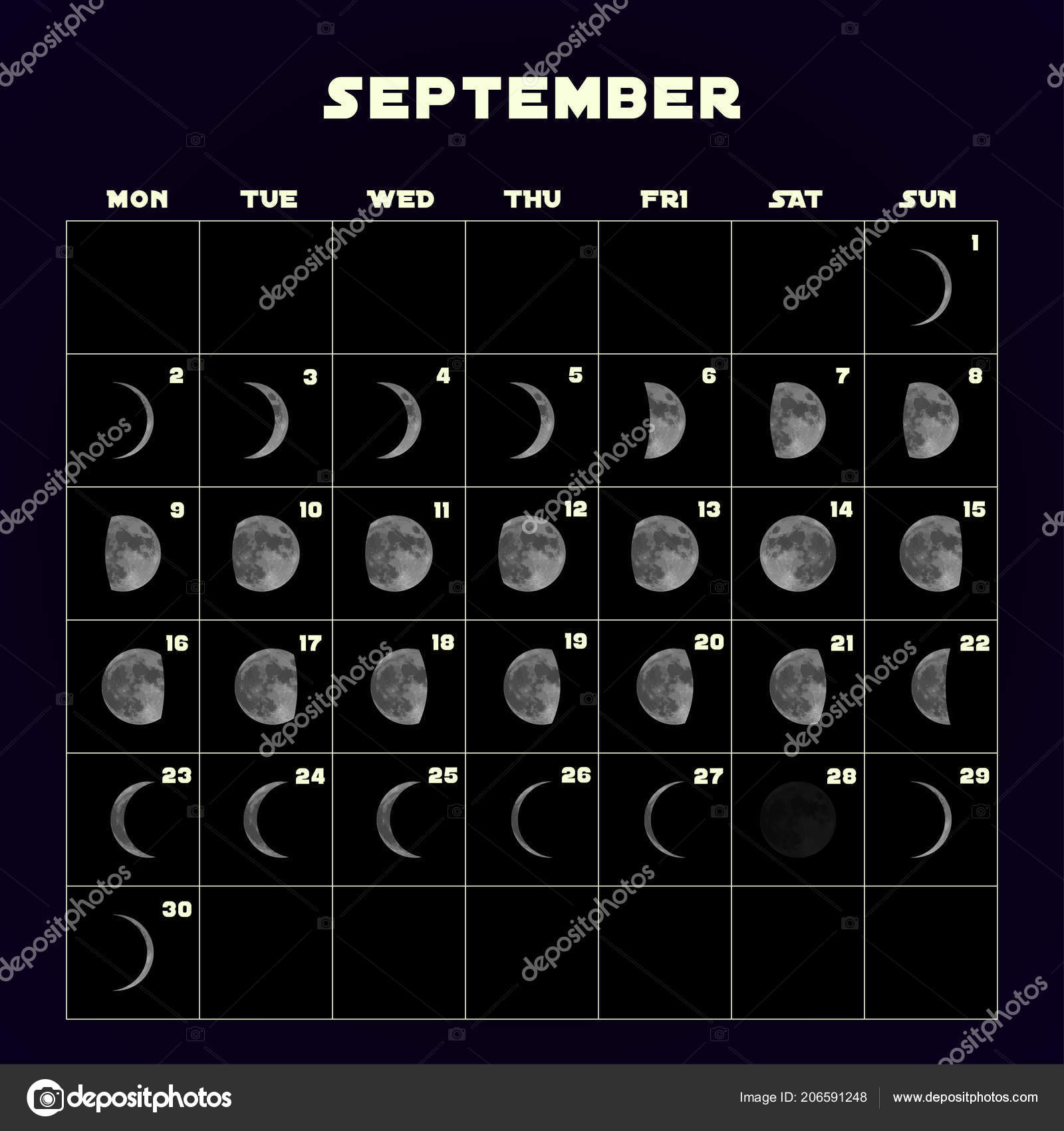 Moon Phases Calendar For With Realistic Moon
