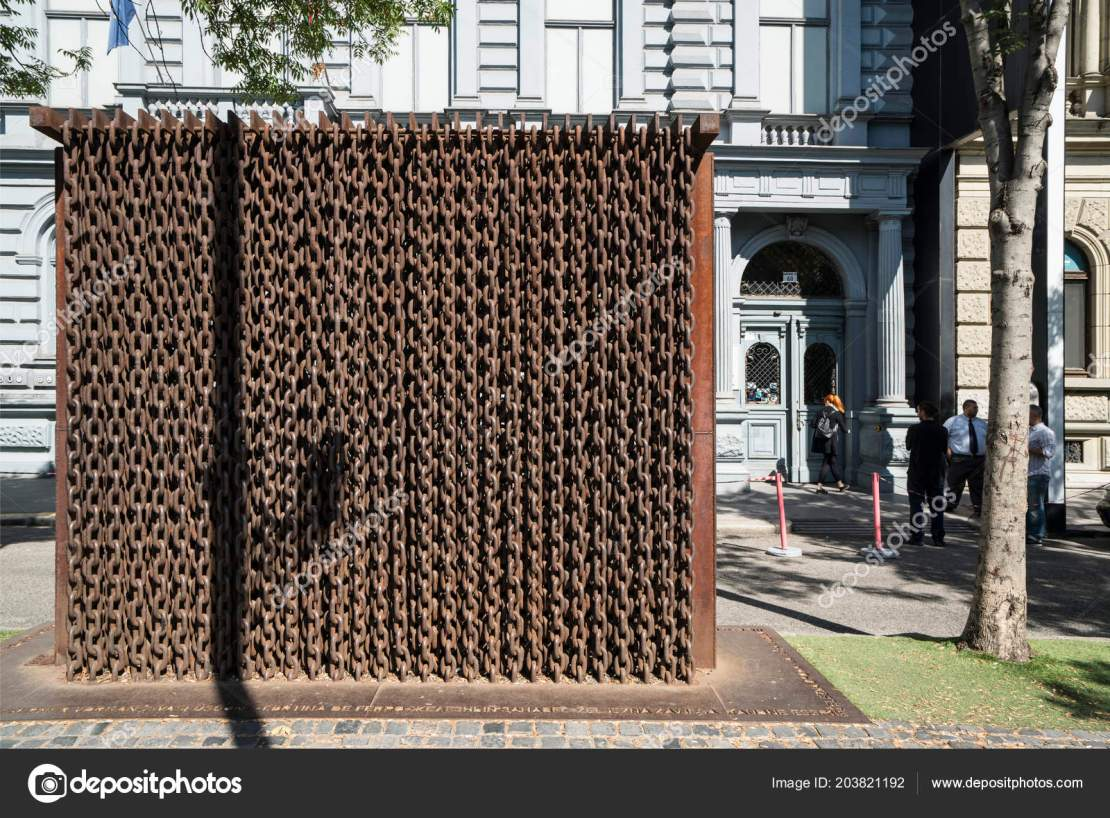 Budapest Hungary July 2018 Monument Curtain Chains Front Entrance House Stock Editorial Photography