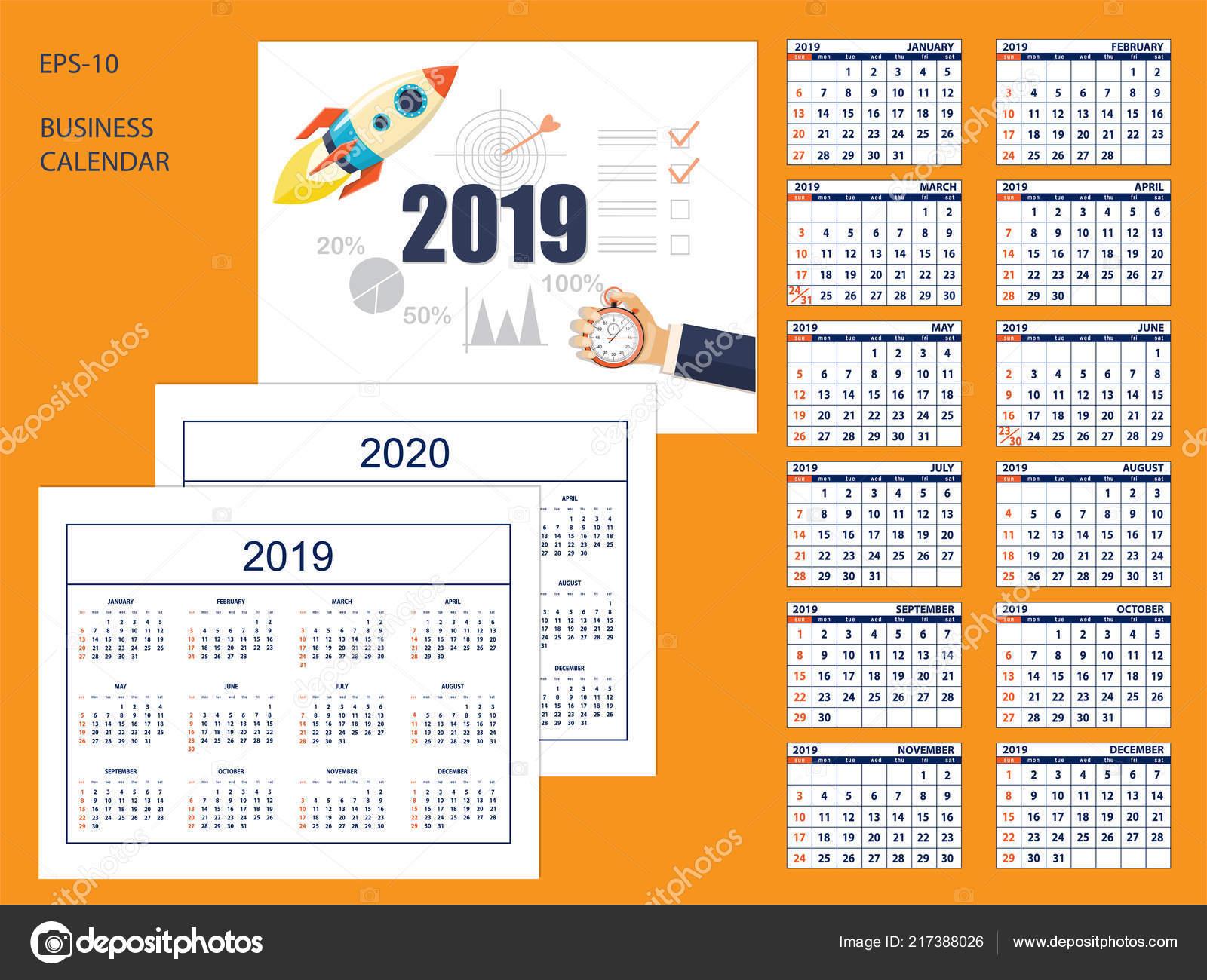calendrier americain de business desk annee 2019 avec la fusee de depart sur la couverture ensemble de pages de 12 mois calendrier de l annee 2020