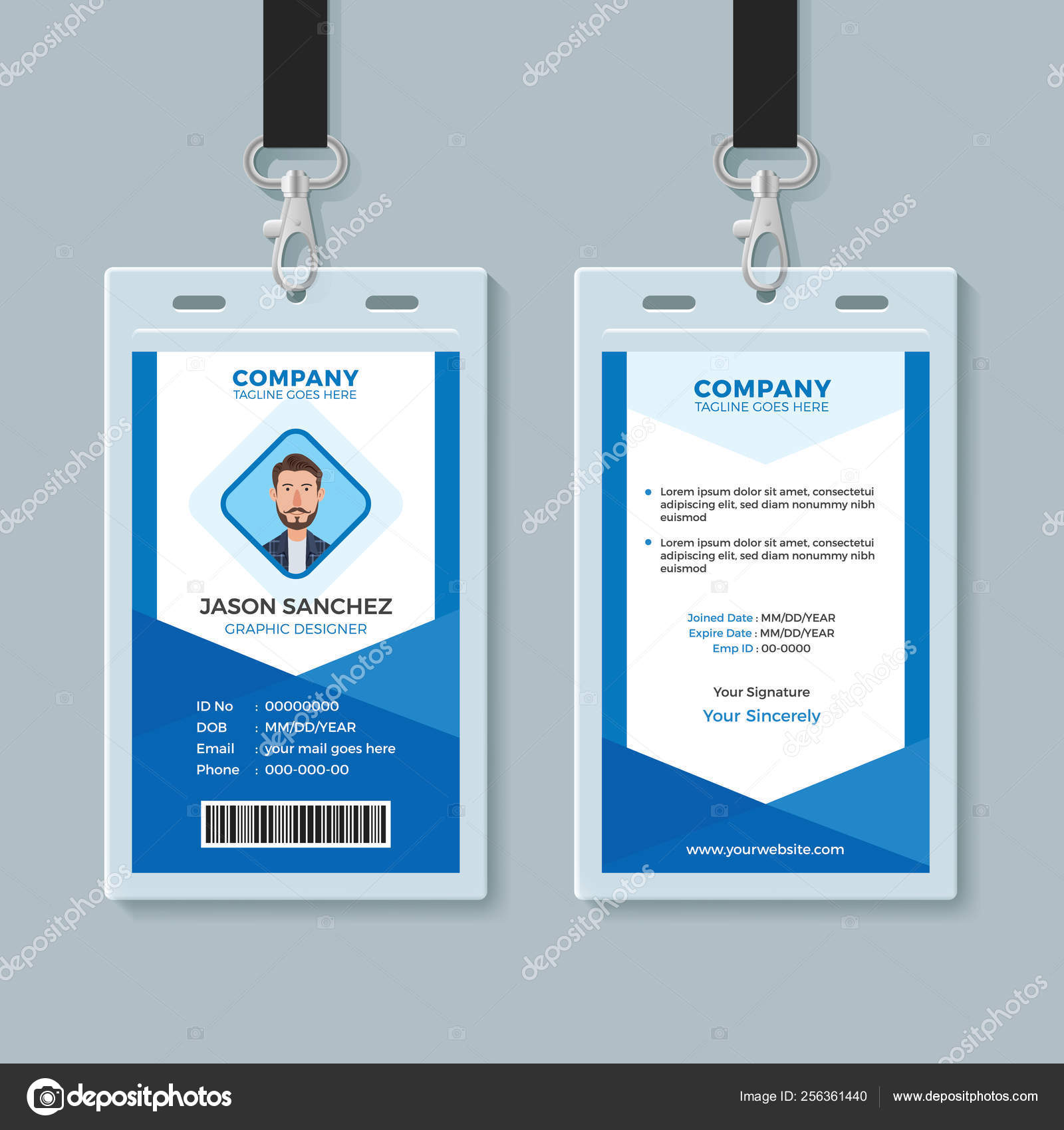 Sadly, they were also one of the first things to go. Blue Employee Identity Card Template Stock Vector Image By C Bonezboyz 256361440
