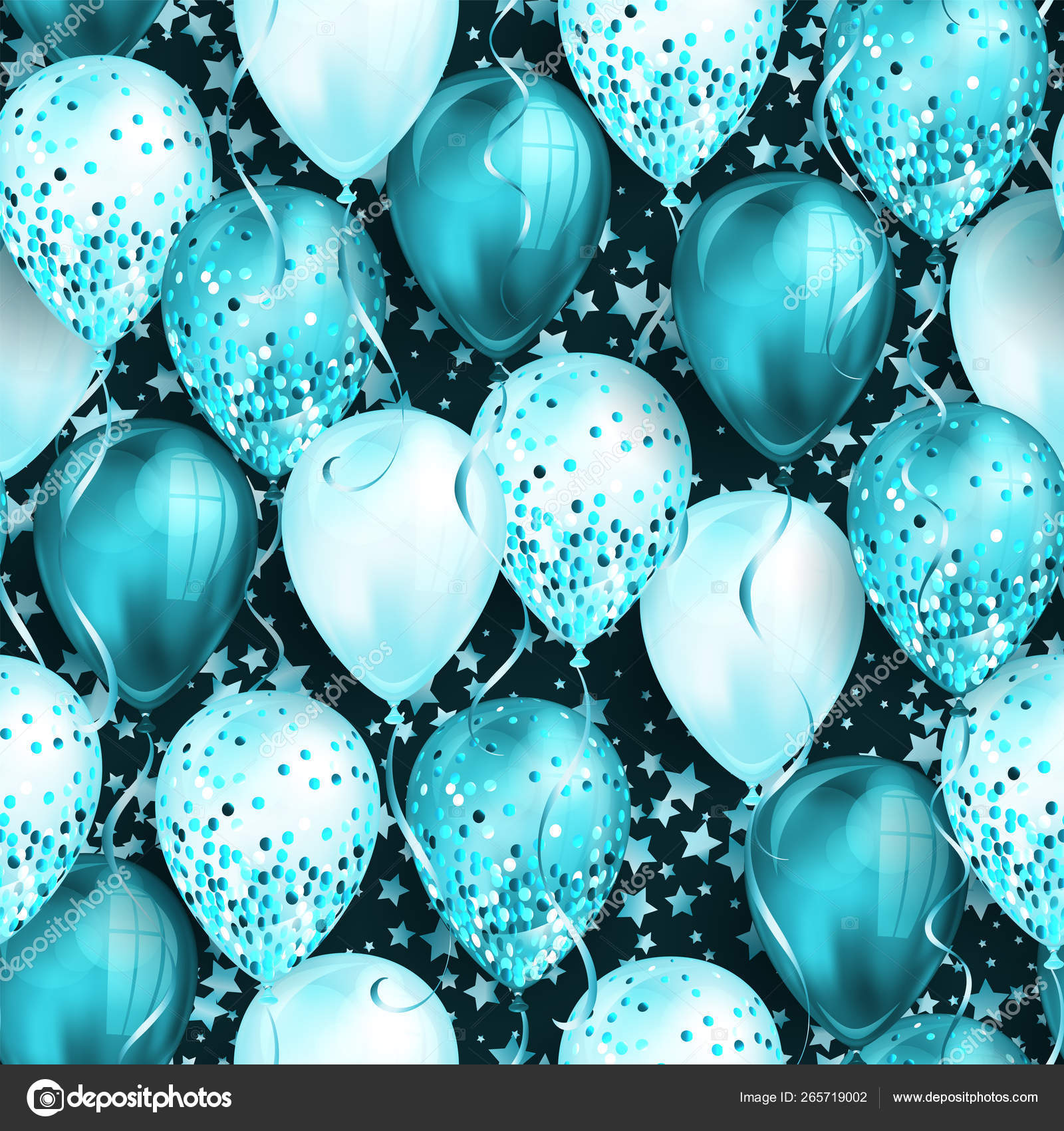 seamless pattern with stars and shiny blue realistic 3d helium balloons for your design glossy balloons with glitter and ribbon perfect background for birthday party brochures invitation card vector image by c