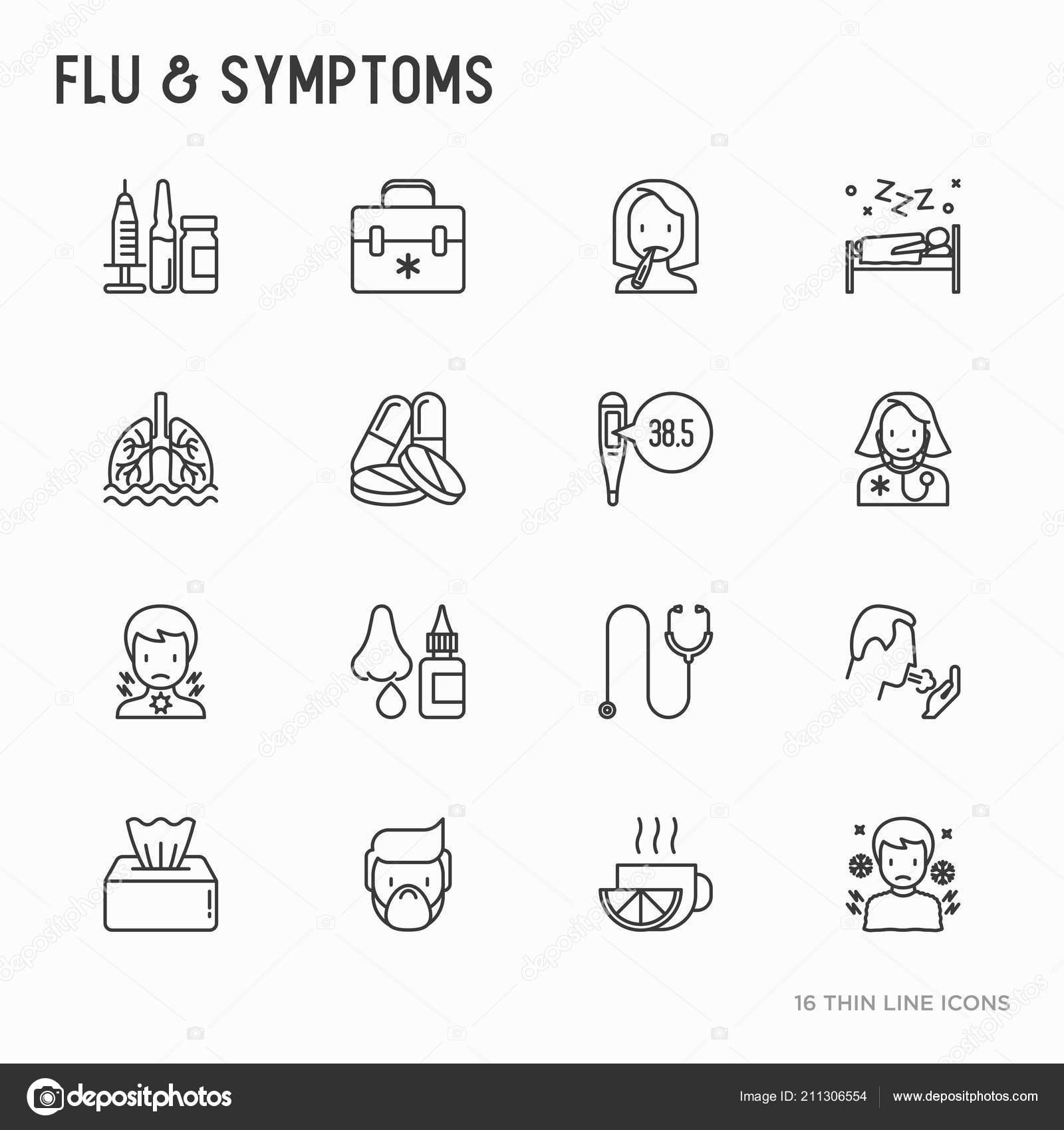 Flu And Symptoms Thin Line Icons Set