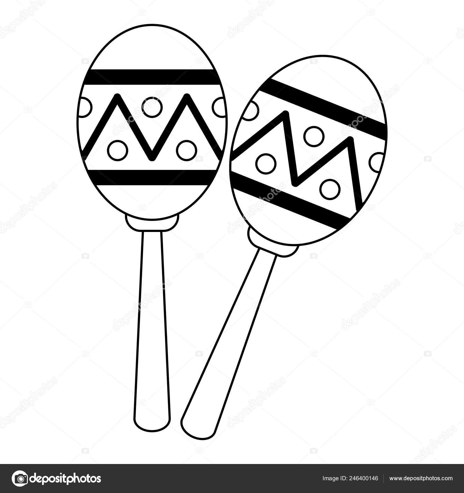 Maracas Music Instrument Latin Symbol Black And White