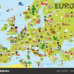 Map Of Europe Kids Funny Cartoon Map Of Europe With Childrens Of Different Nationalities Representative Monuments Animals And Objects Of All The Countries Vector Illustration For Preschool Education And Kids Design
